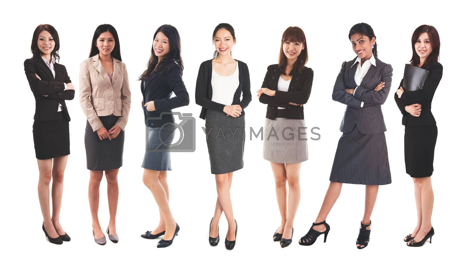 Full body diverse Asian business women and mixed age group, standing isolated on white background.