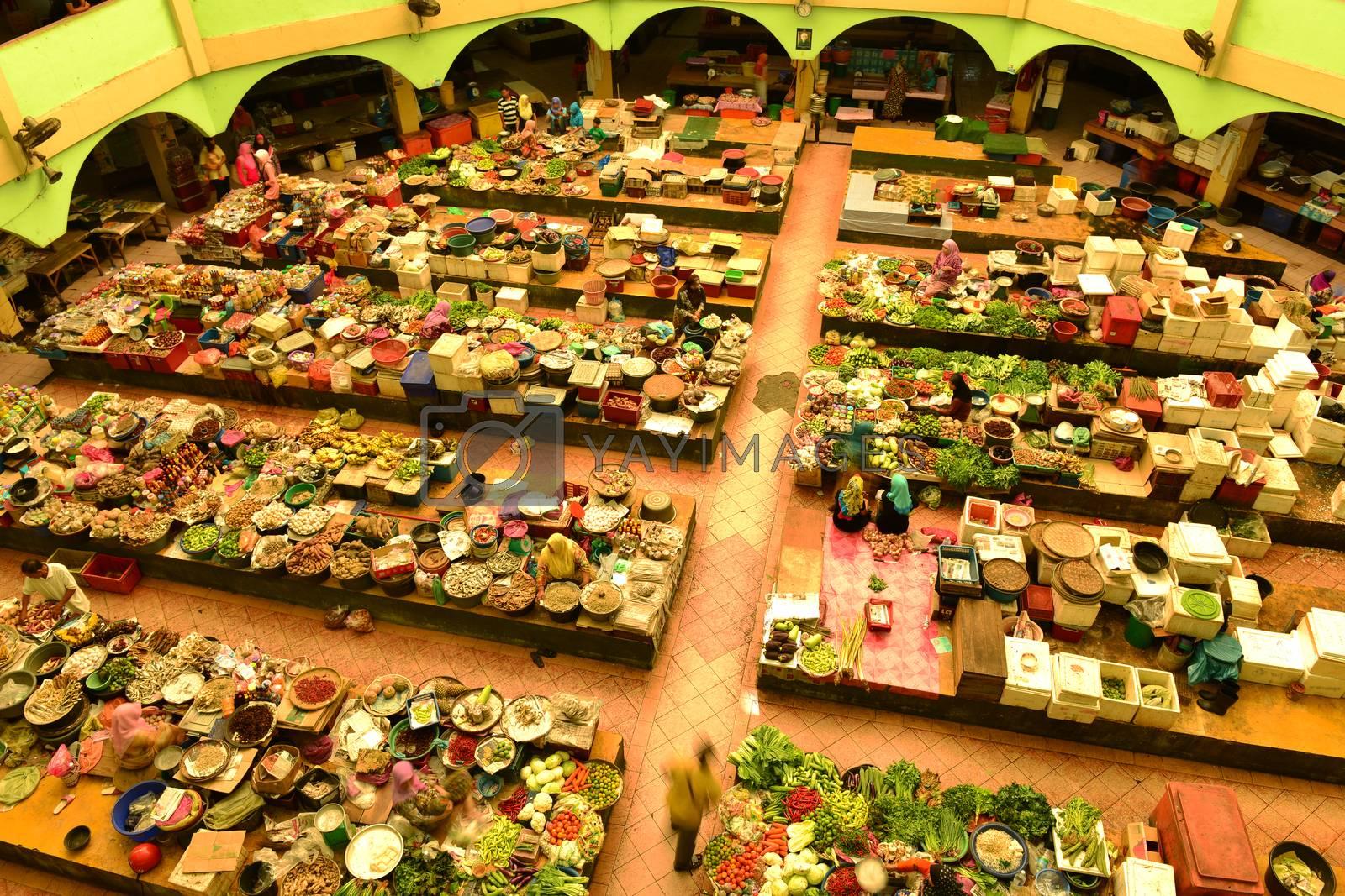 Vegetable market in Kota Bharu, Pasar Siti Khadijah Kelantan, Malaysia, Asia.