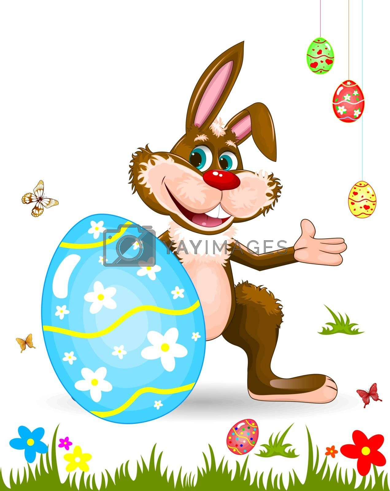 Cartoon easter bunny. Easter eggs, butterflies, flowers, grass. Character for greeting card.