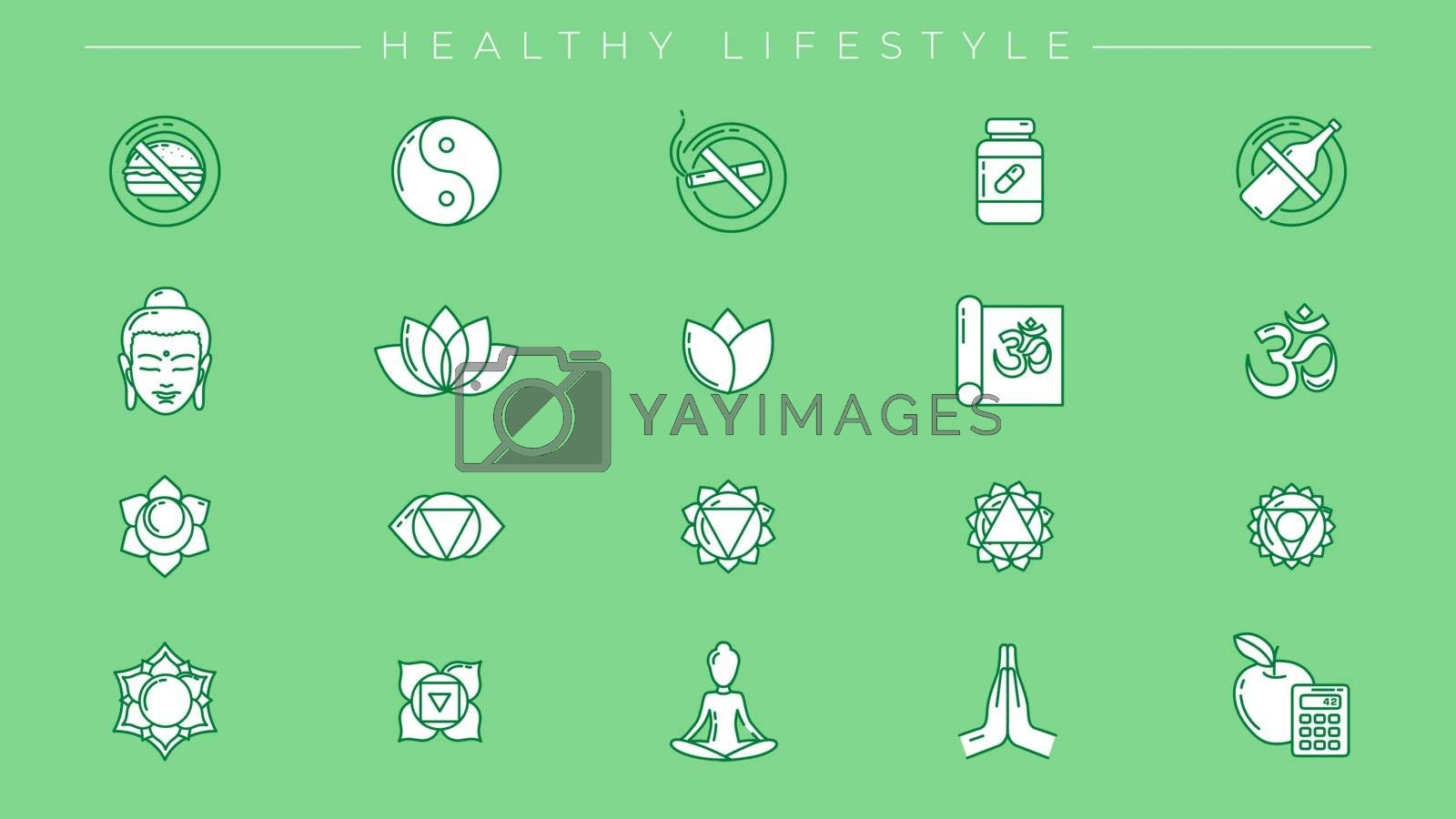 One of the modern line icons sets on the theme of Healthy Lifestyle.