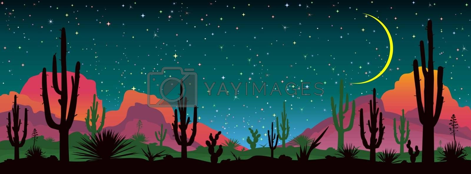 Landscape with various cacti against the backdrop of mountains and the night starry sky.