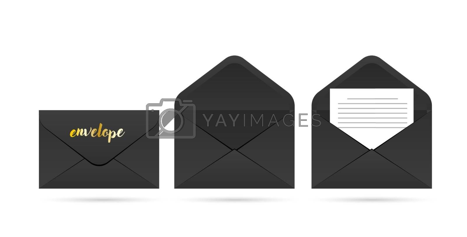 Black vector envelope set. Realistic dark mockup isolated on a background. Opened and closed black envelopes with golden decor. Templates of dark paper mail envelope for letter