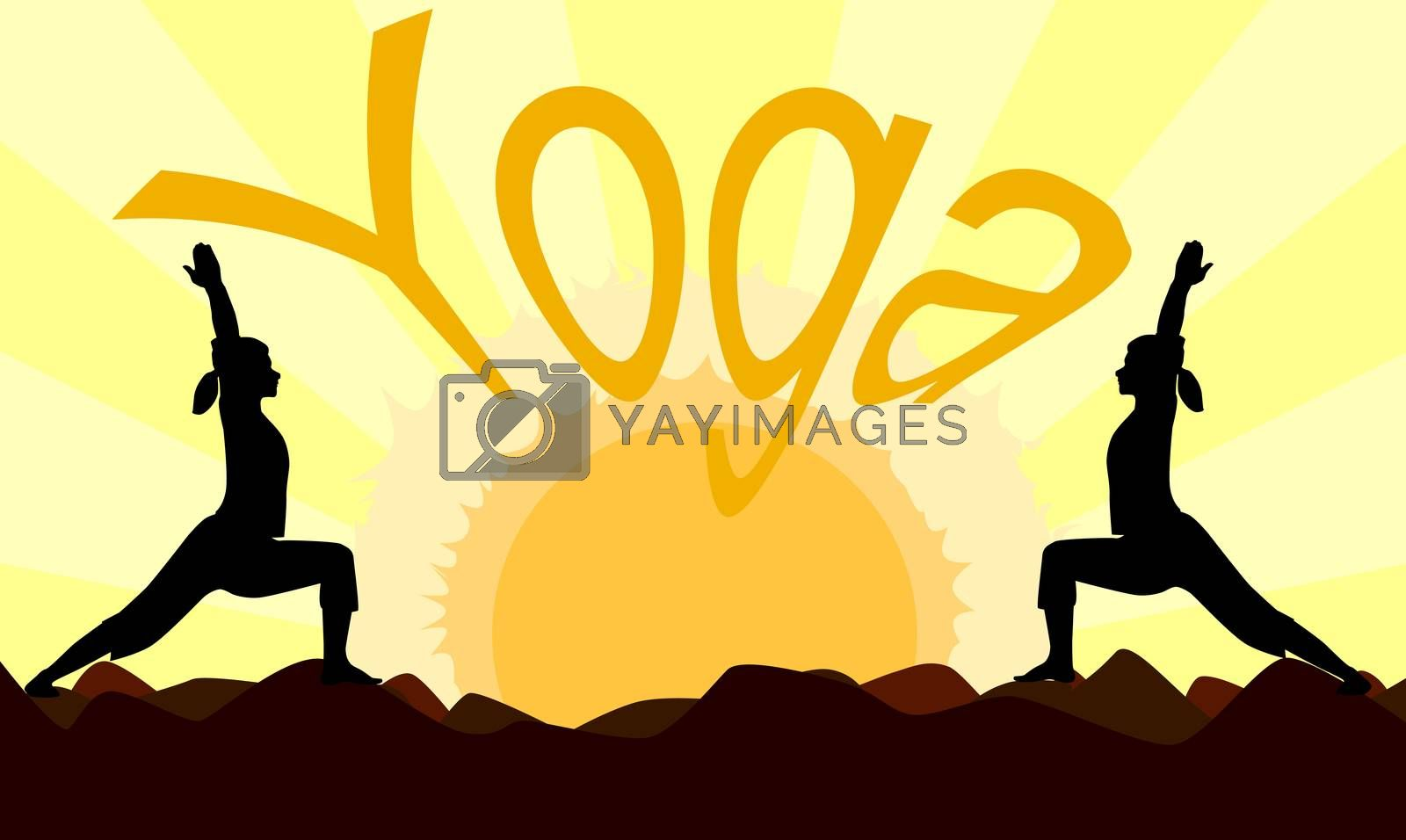 2 yoga poses performed by young women in silhouette set against a yellow sunset.