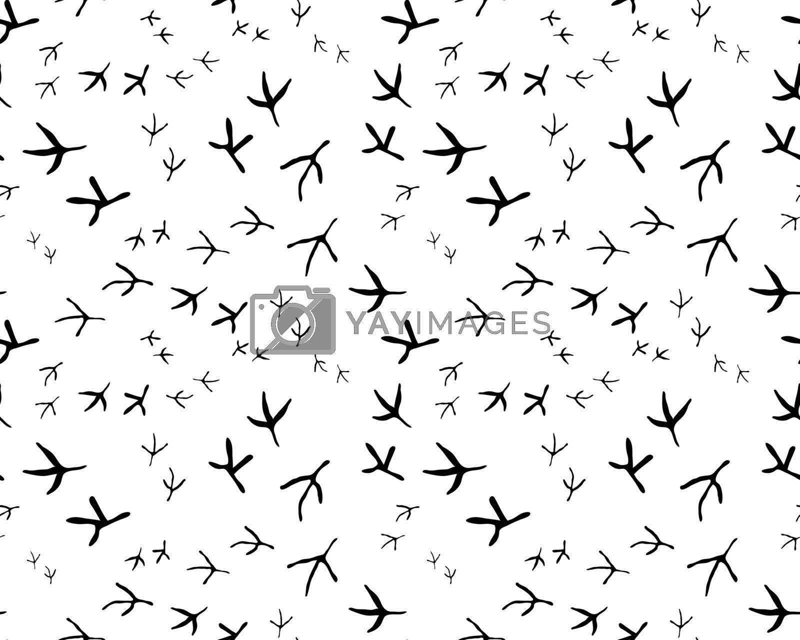 Iillustration of black traces of birds, seamless wallpaper