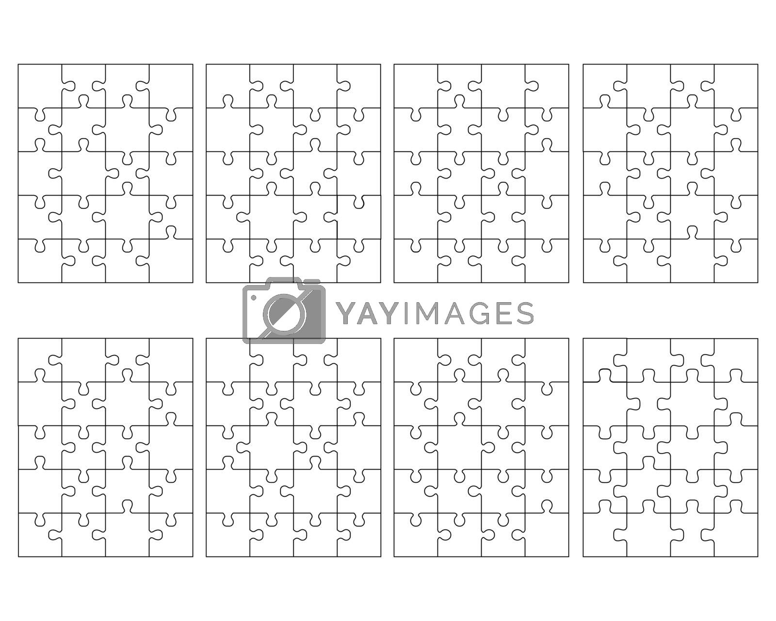 Illustration of eight white different puzzles, separate pieces