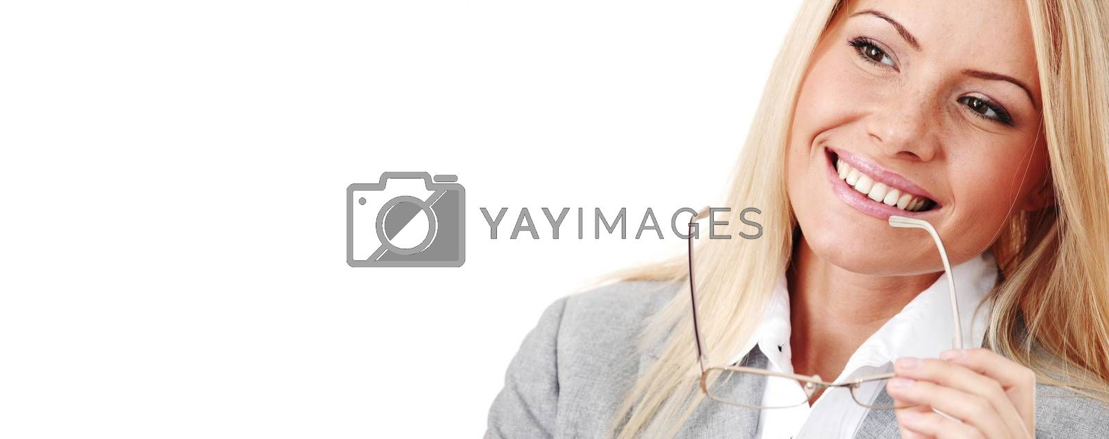 Business woman in glasses isolated on white background, happy and smiling, biting her eyeglasses, close up portrait, copy space