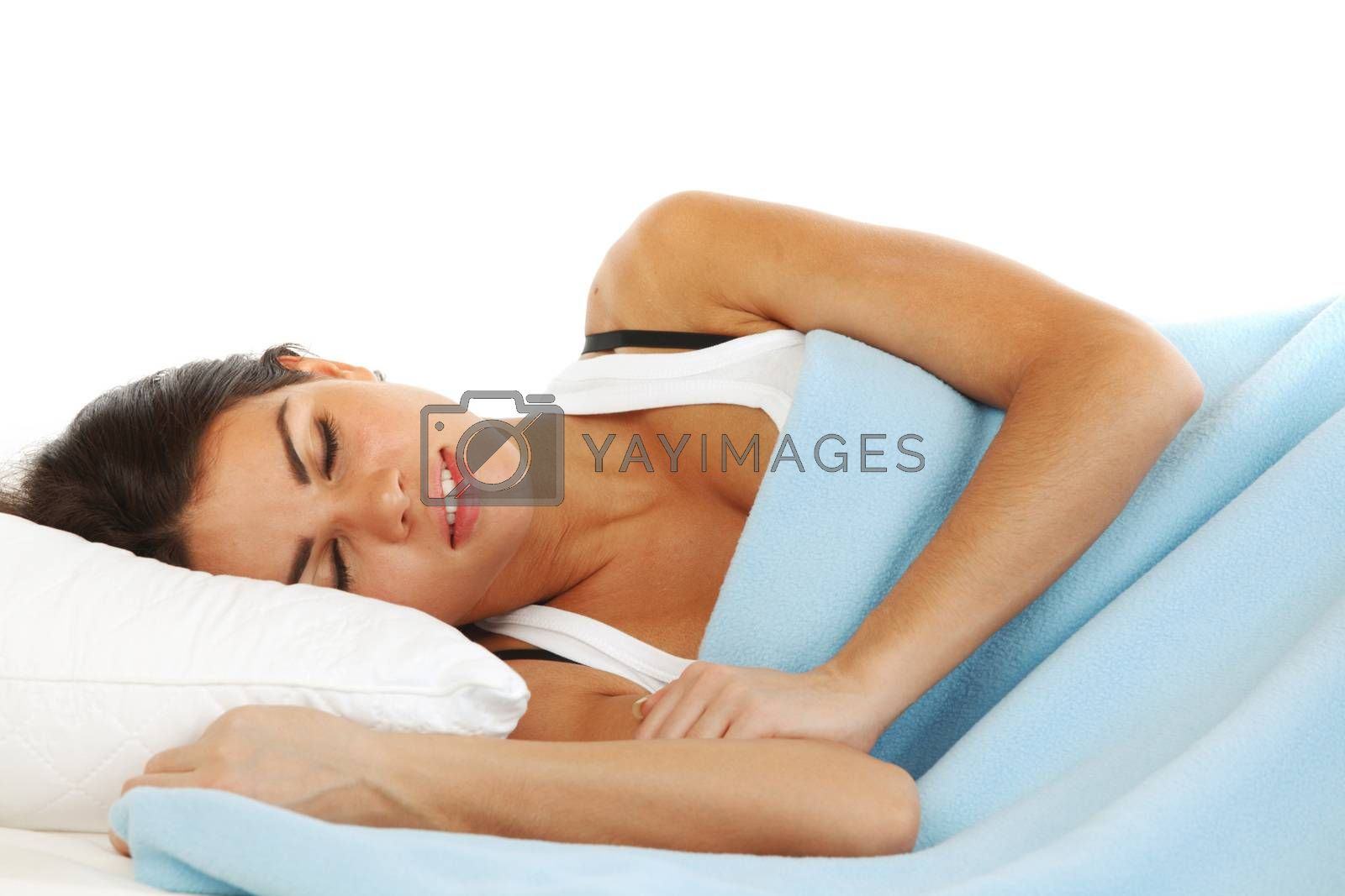 beauty young woman sleep on the pillow isolated on white background