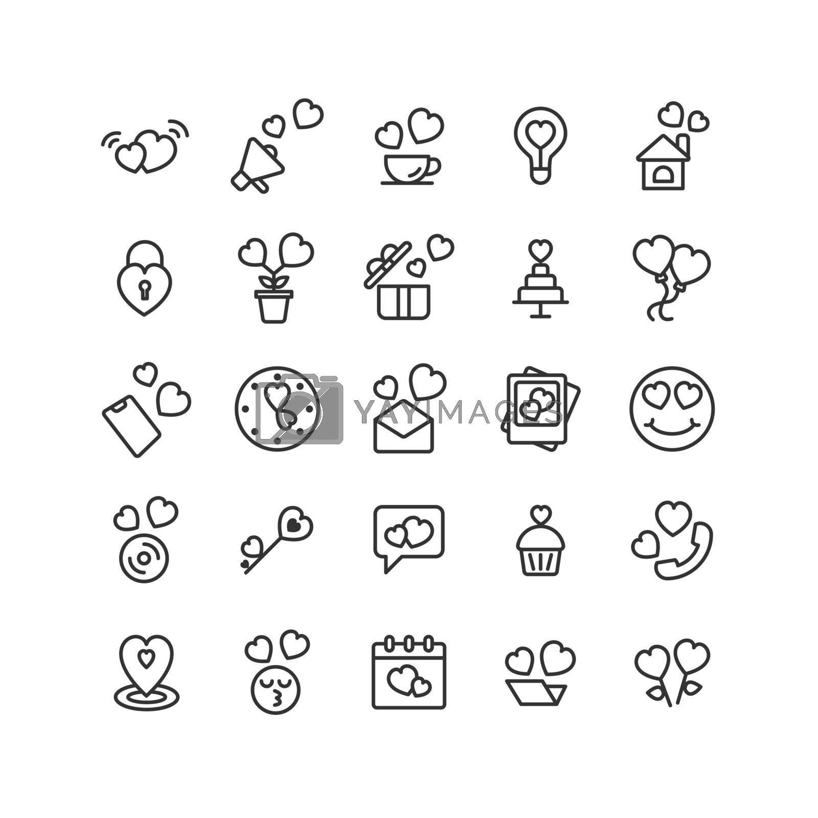 Valentines Day outline icon set. Vector and Illustration.