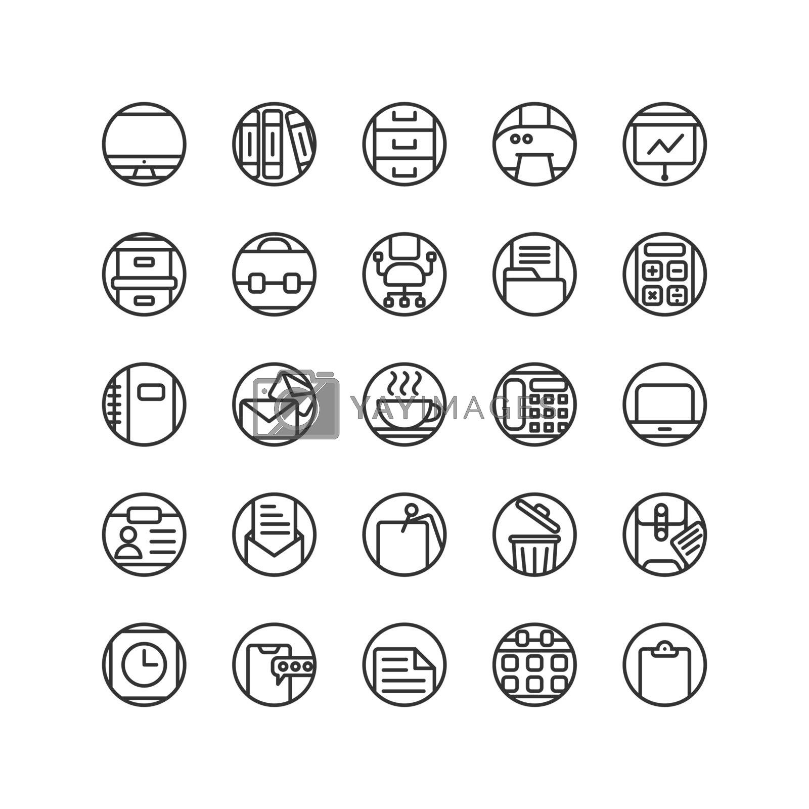 Work Office outline icon set. Vector and Illustration.