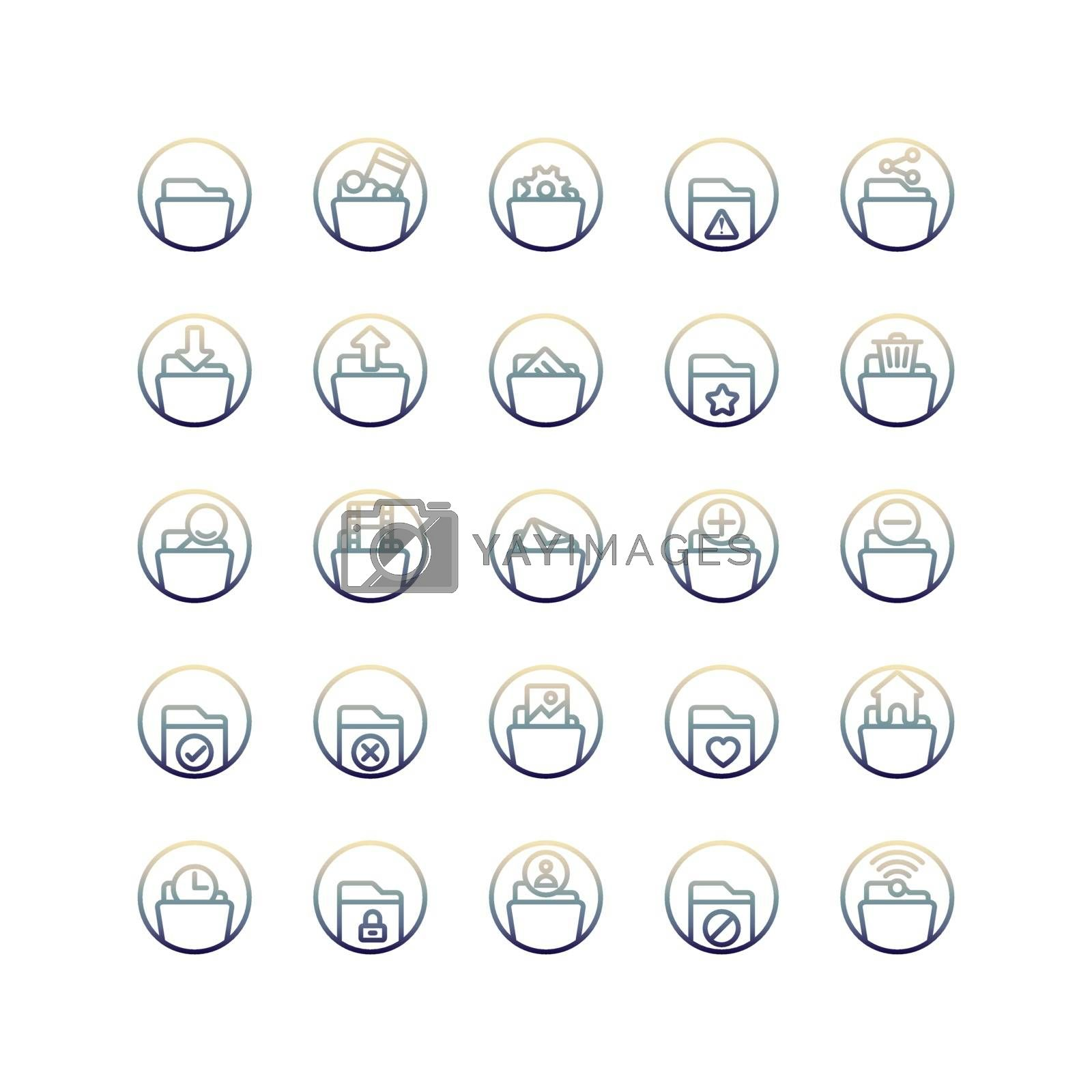 Folder gradient icon set. Vector and Illustration.