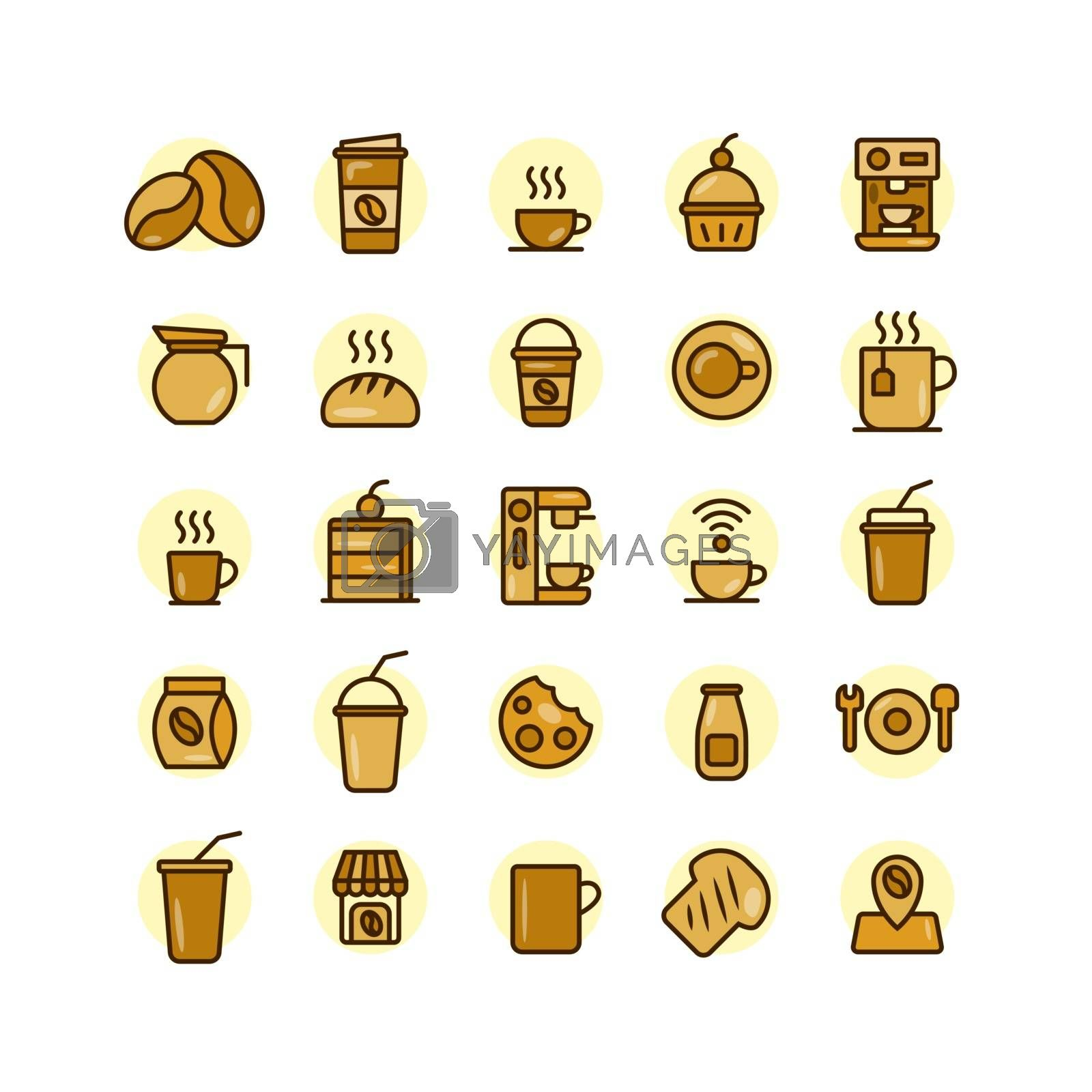 Coffee Shop filled outline icon set. Vector and Illustration.