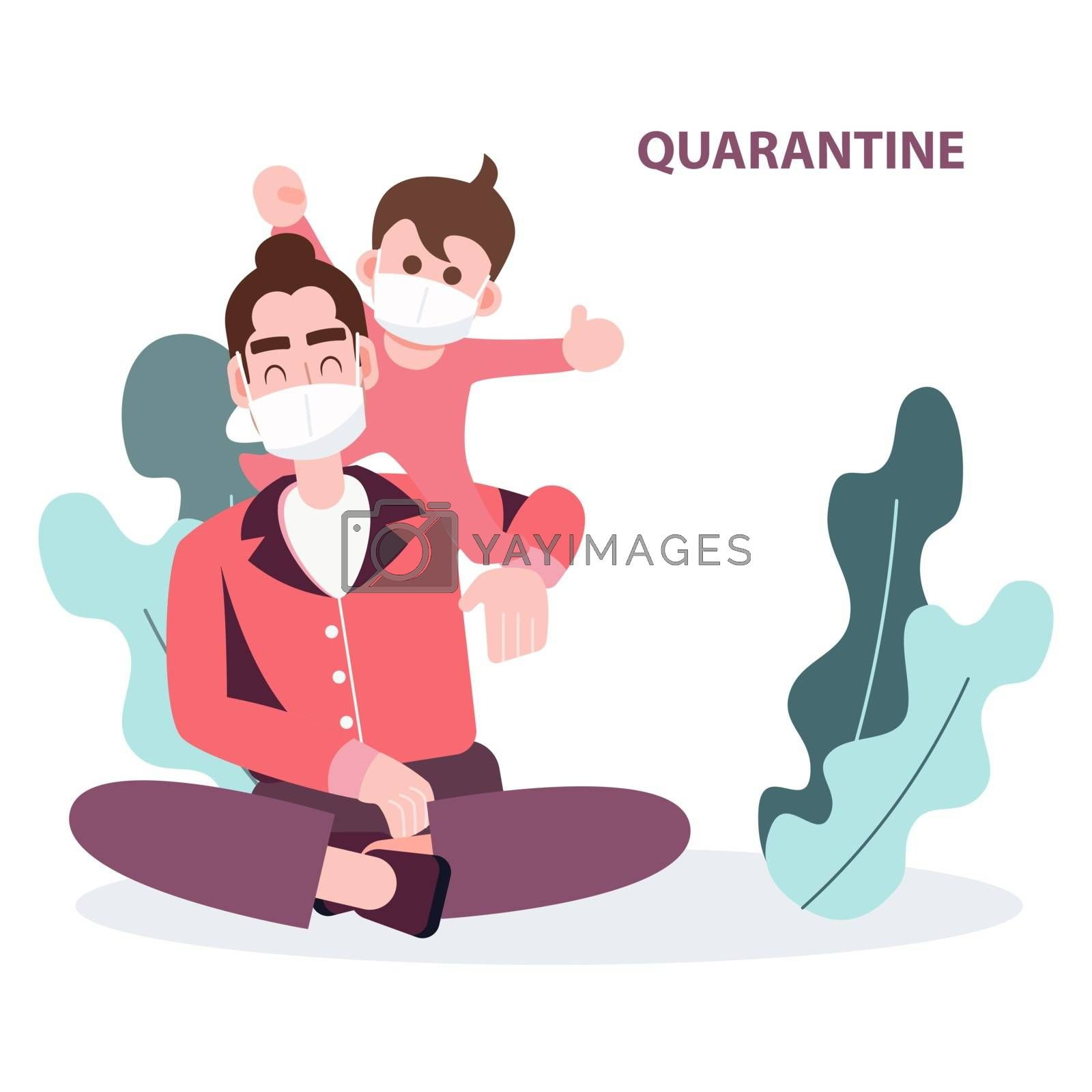 happy boy climbing on father shoulder staying at home. Abstract flat character people wearing mask quarantine from covid-19 pandemic coronavirus outbreak. health care and medical vector.