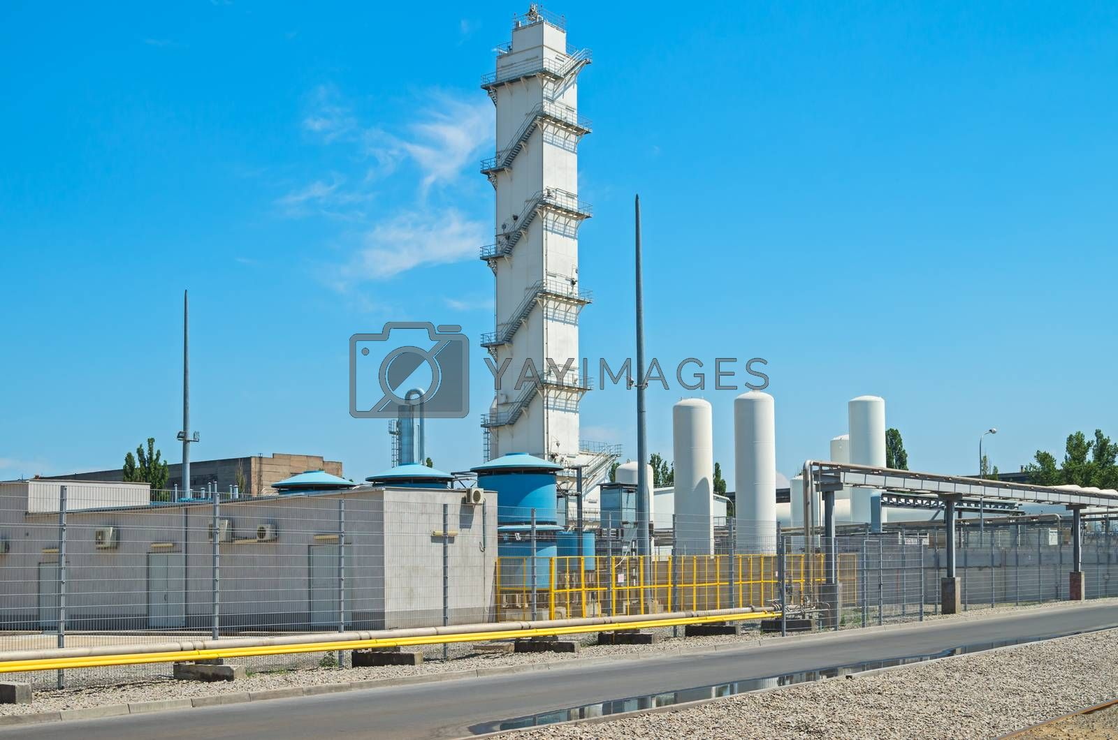 Manufacturing oxygen manufactory electric steel plant on blue sky background