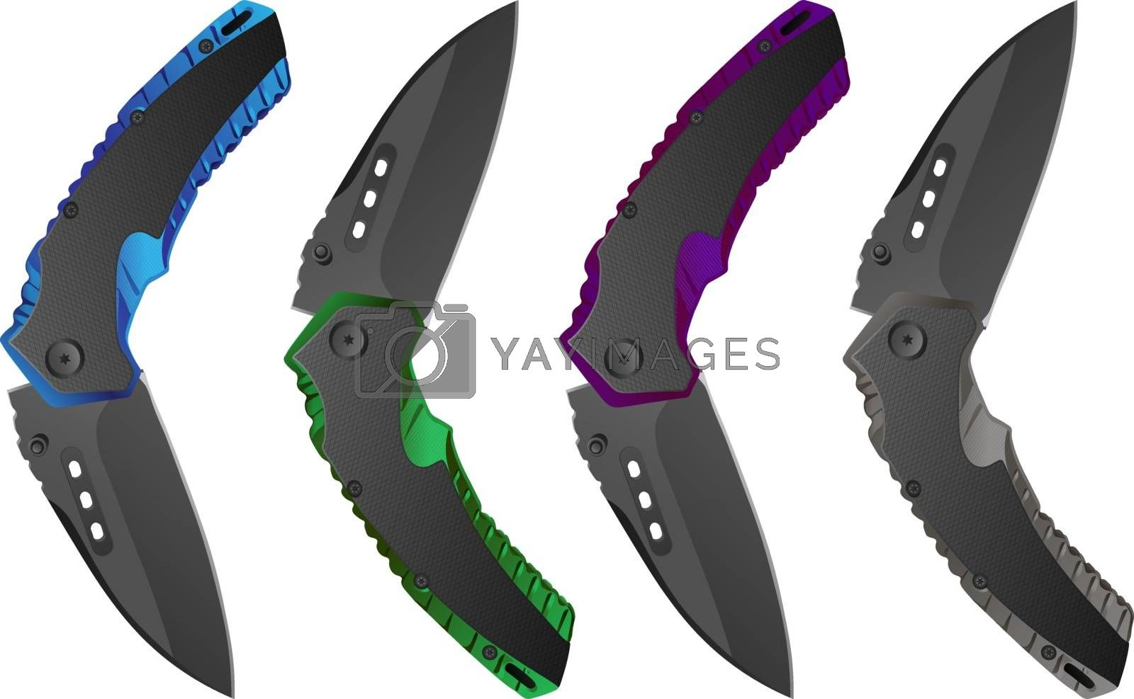 Illustration of four isolated realistic folding knives in blue, green, purple and grey colors