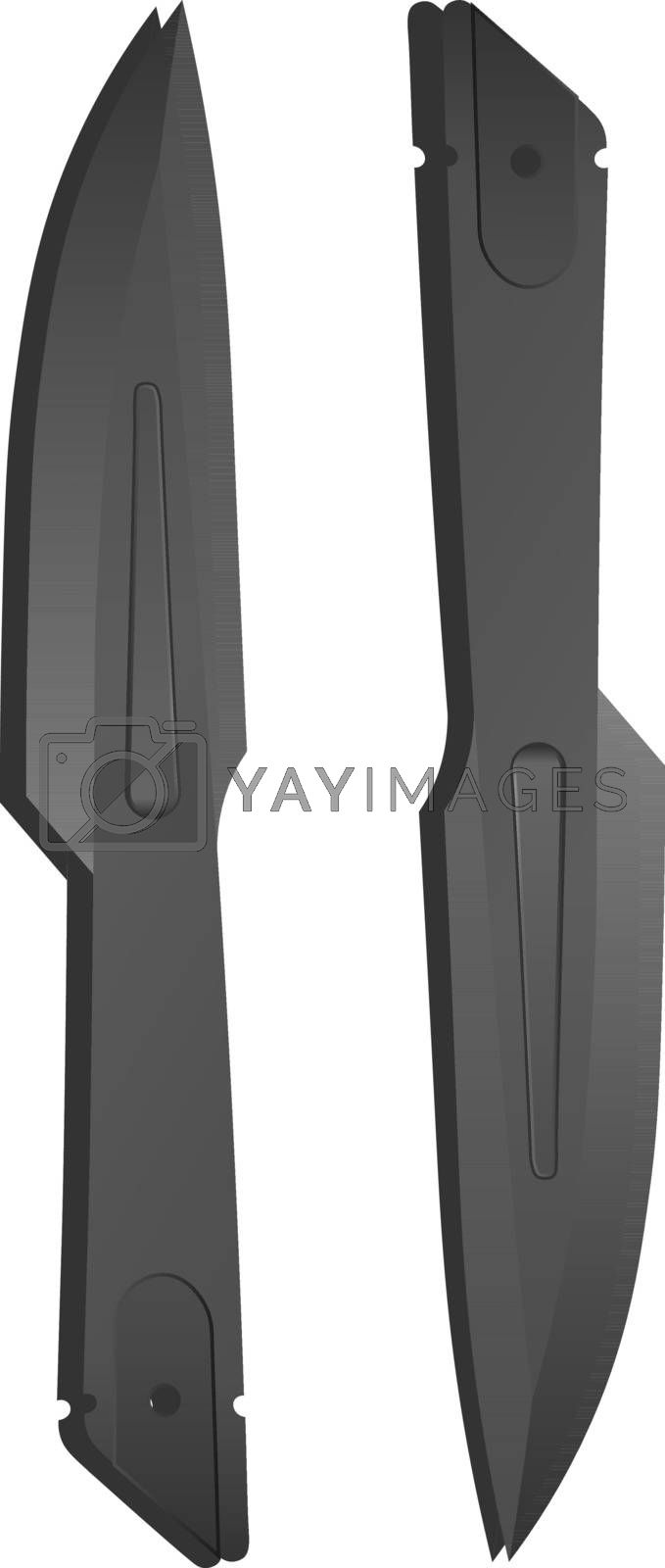 Illustration of two isolated realistic steel dark grey throwing knives