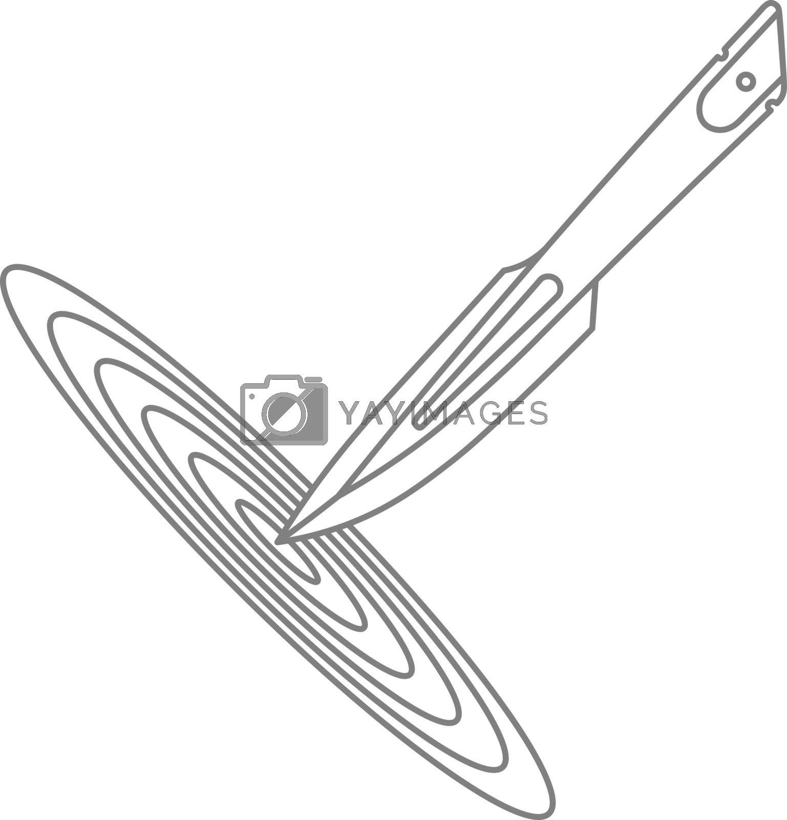 Simple grey contour illustration of throwing knife in the target