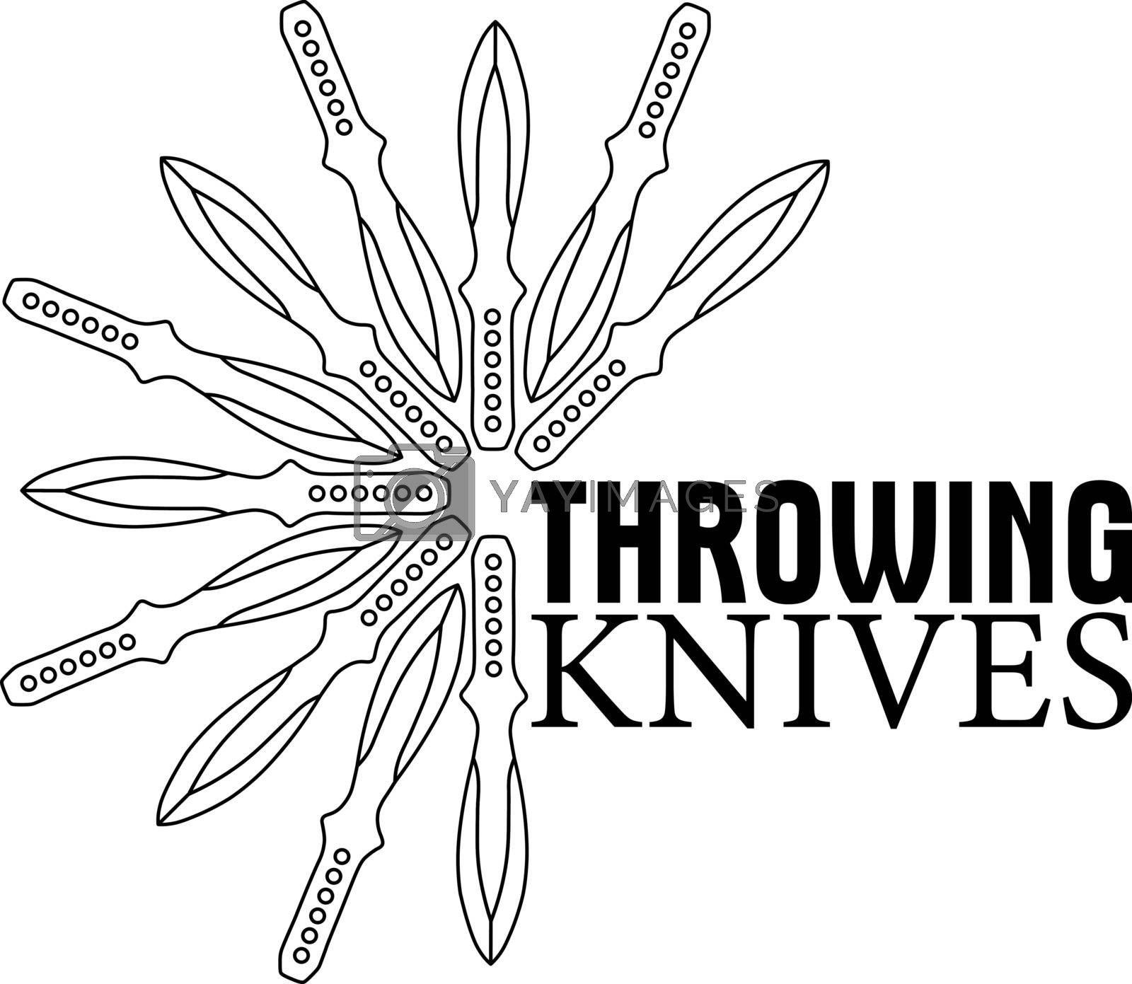 Simple black and white print or logo template with flower of contour throwing knives and text