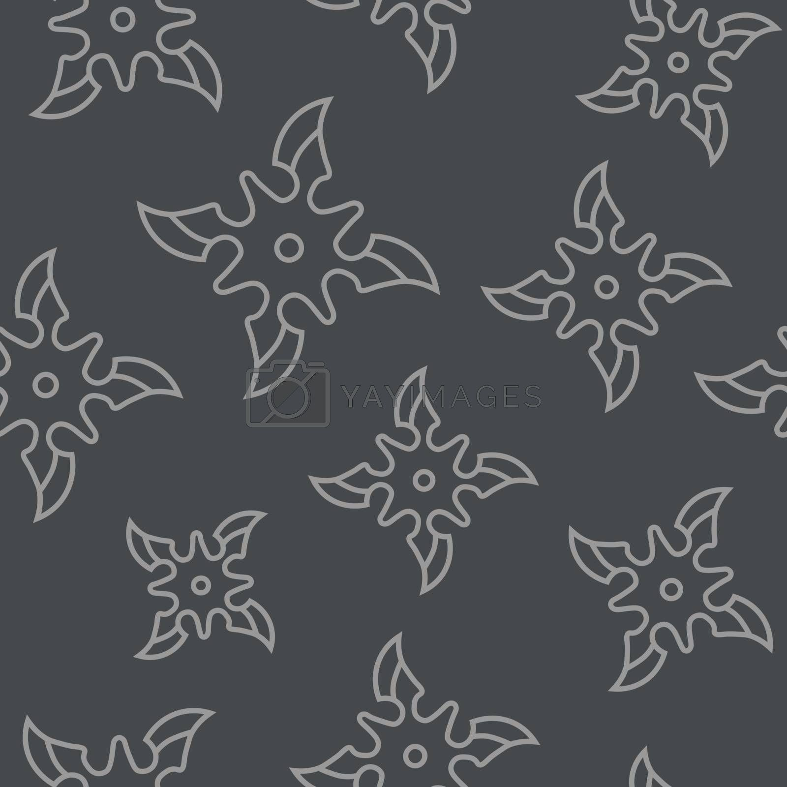 Simple seamless pattern with contour shurikens on dark grey background