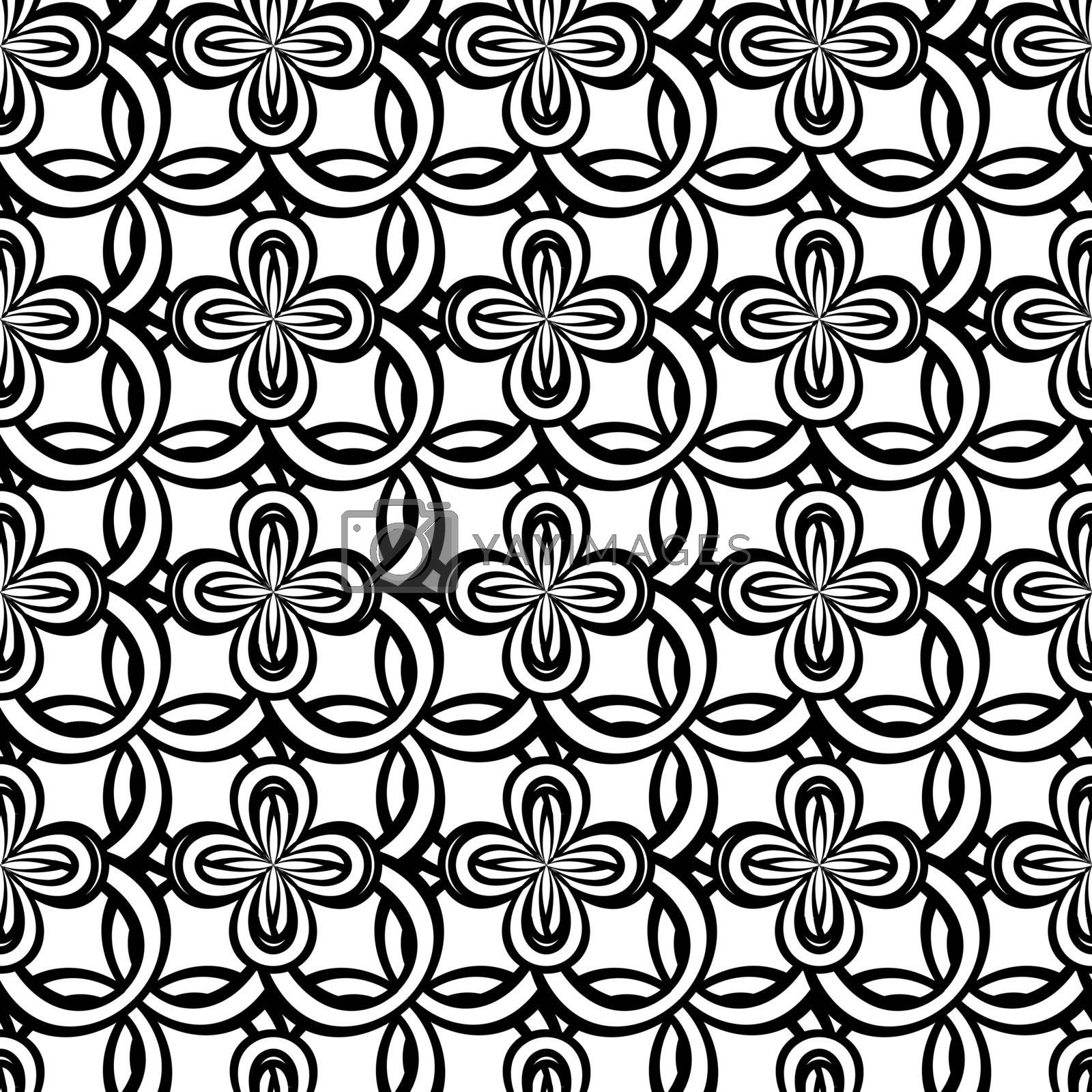 Black and white seamless pattern with abstract flowers in tribal celtic style