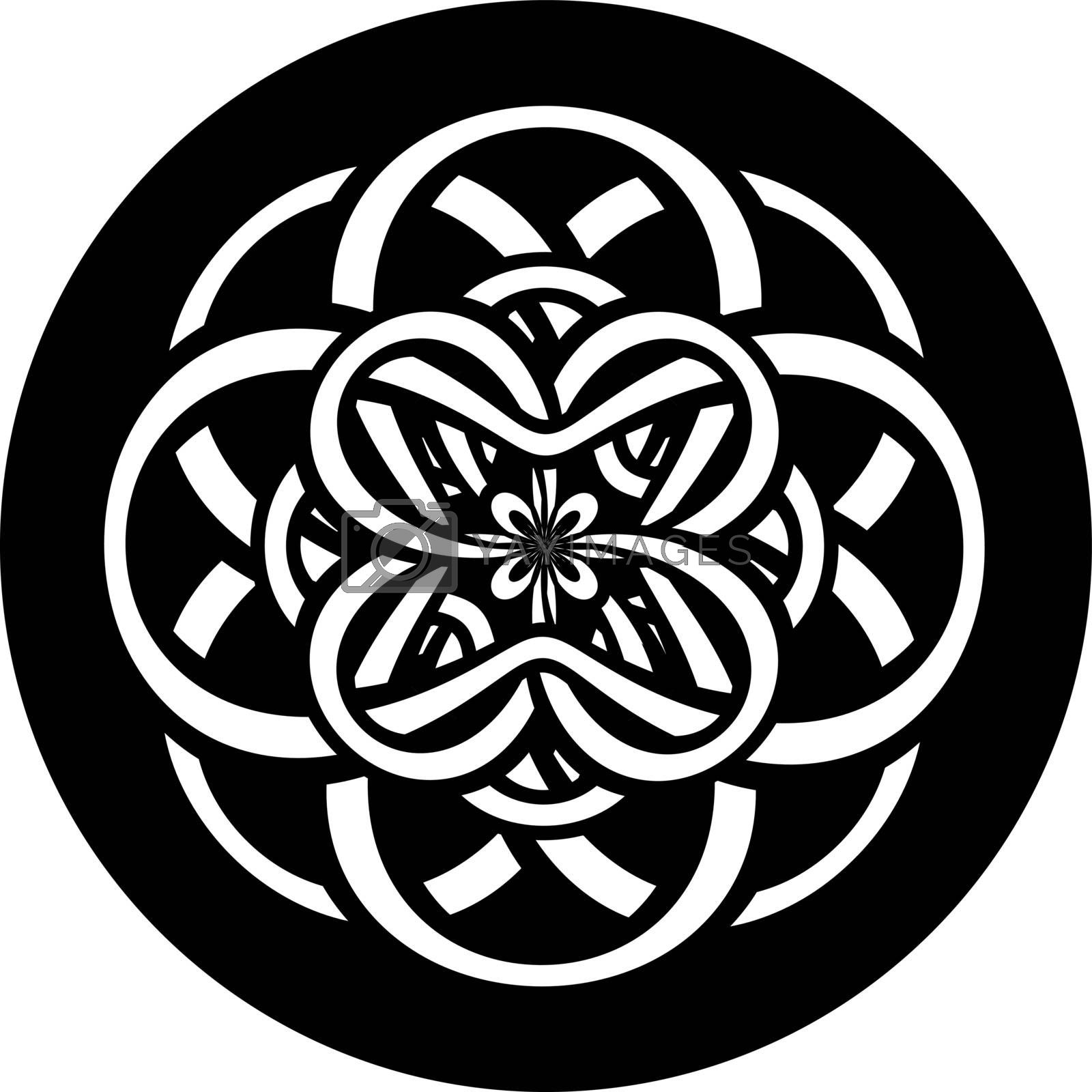 Print or tattoo design with abstract circle with entwined knotted flower in tribal celtic style