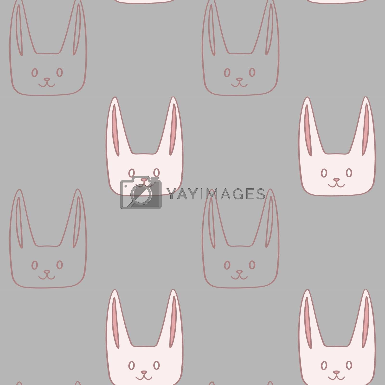 Childish cartoon seamless pattern with cute bunnies on grey background
