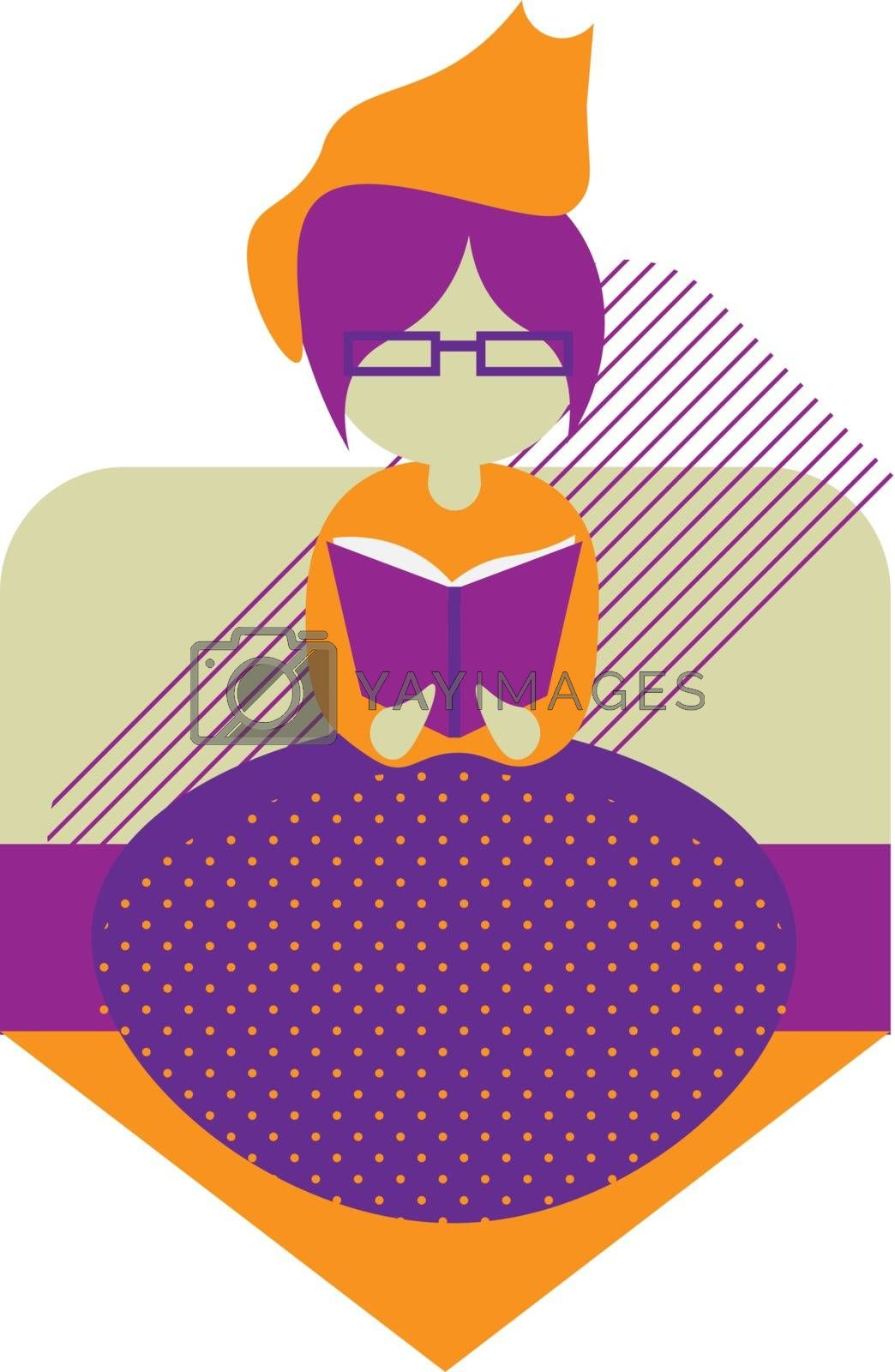 Cute modern colorful illustration of faceless girl sitting on the sofa and reading book with cat on her head