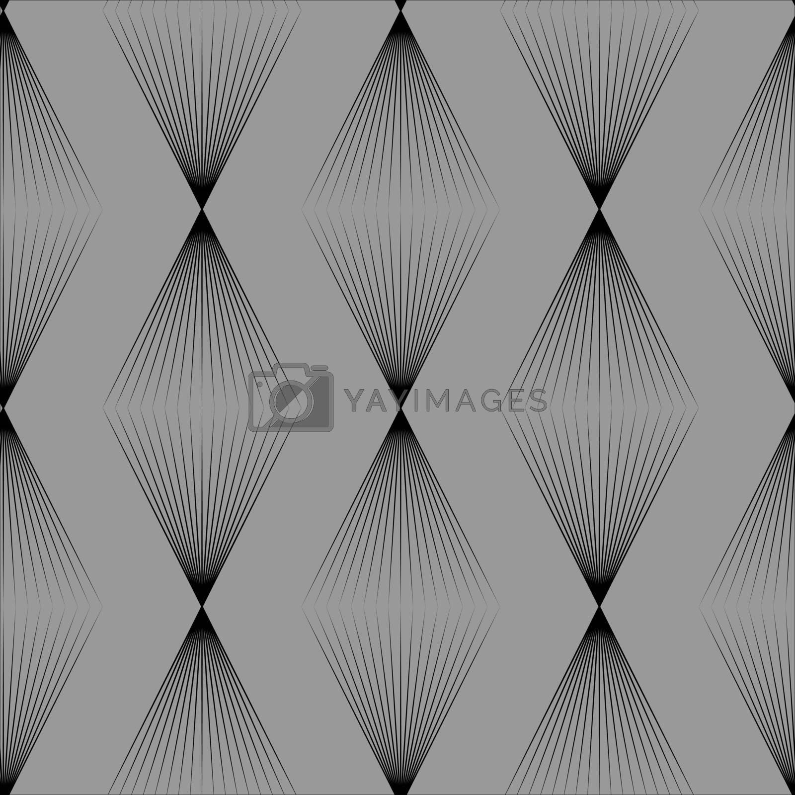 Elegant minimal grey seamless pattern with thin black linear rhombuses