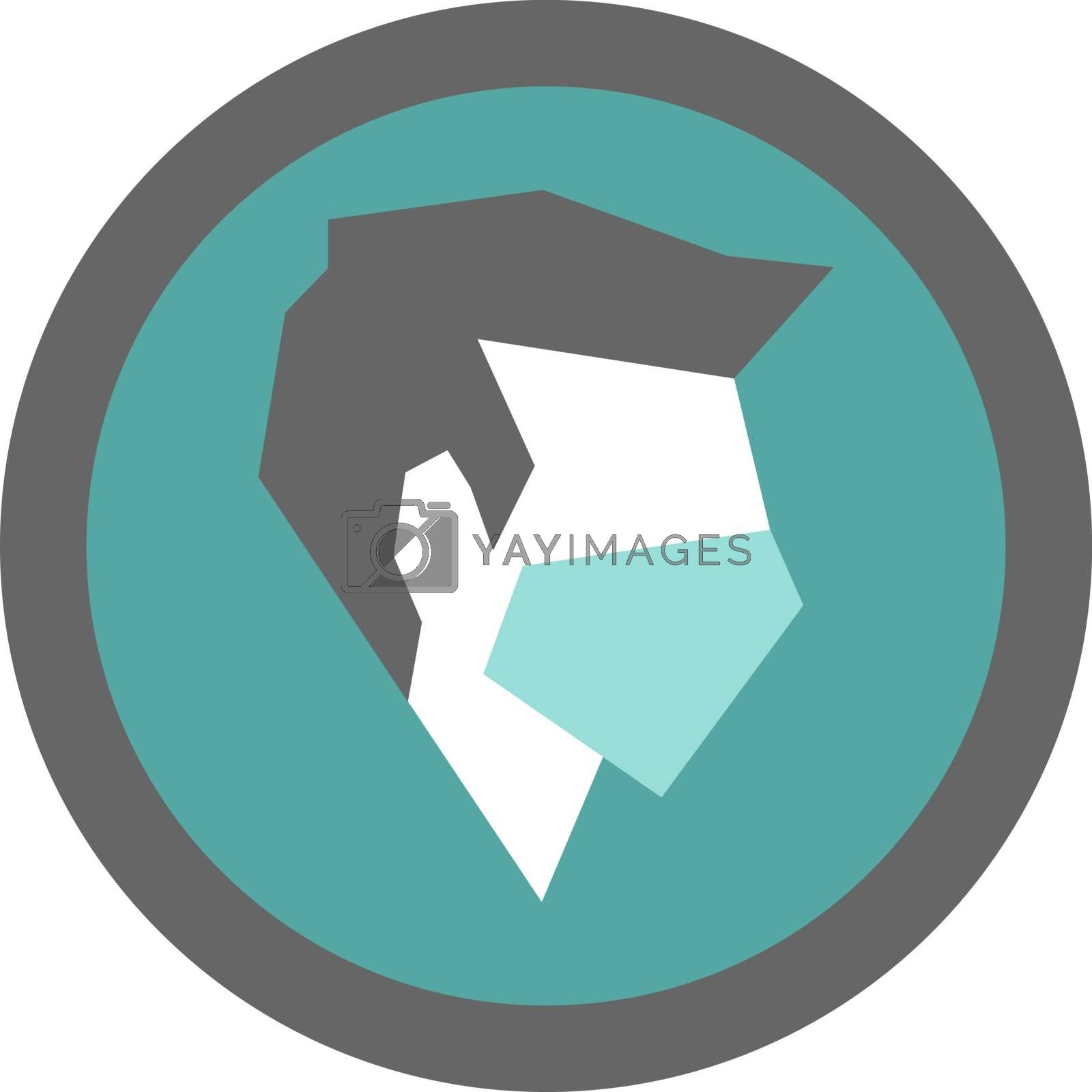 Simple minimalist modern icon with profile of faceless man wearing medical mask
