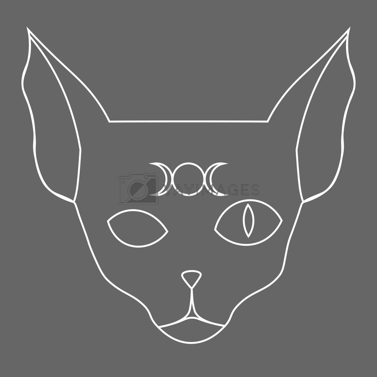 Line art of sphynx cat with one open eye and moon phases symbol on its forehead on grey background