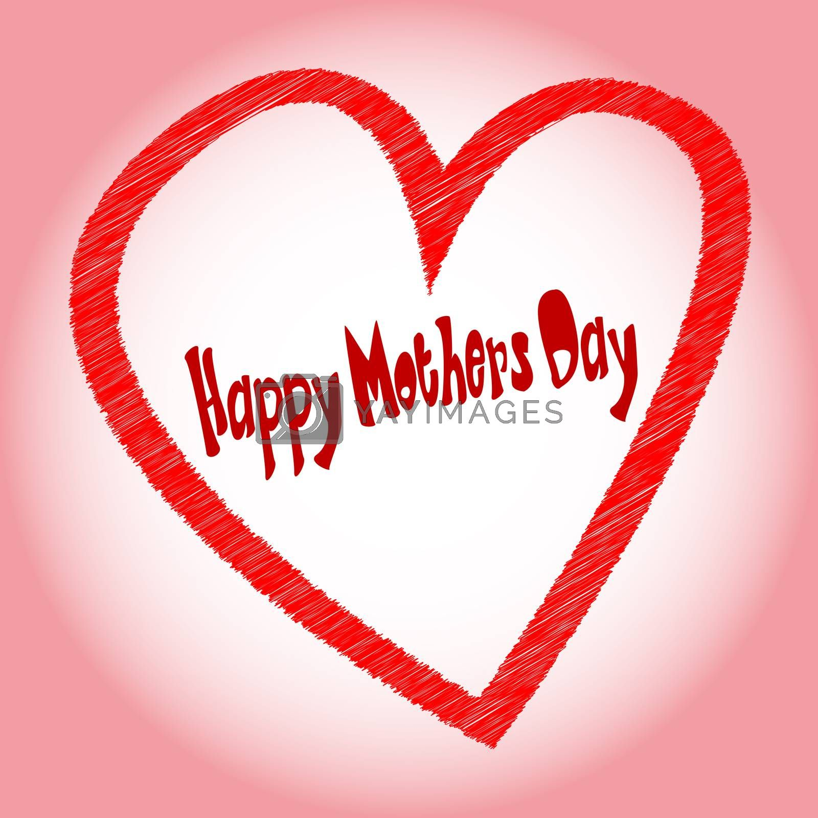 A happy mothers day heart with 'happy mothers day' scrip in original font.