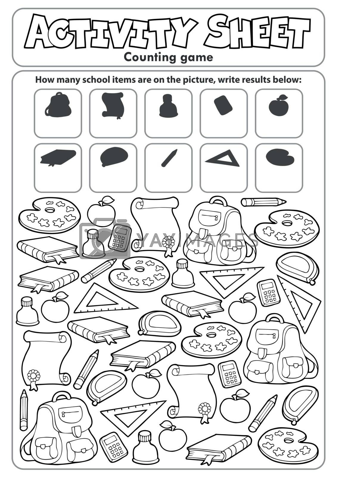 Activity sheet counting game topic 1 - eps10 vector illustration.