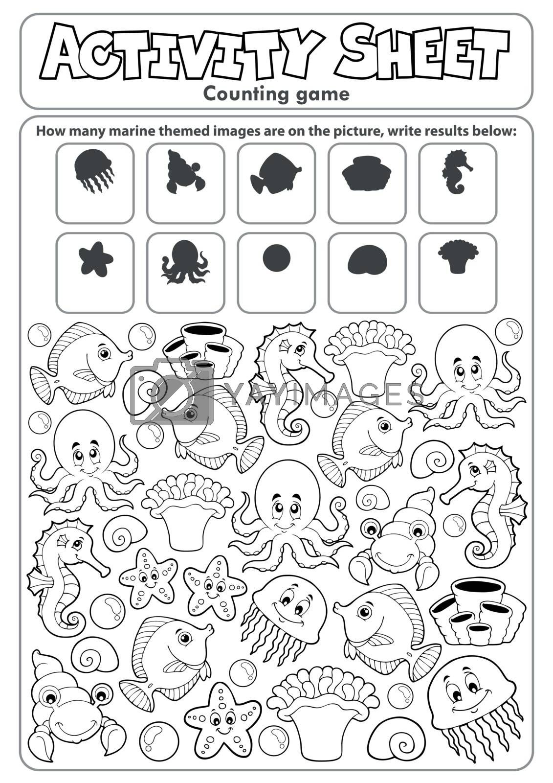 Activity sheet counting game topic 2 - eps10 vector illustration.
