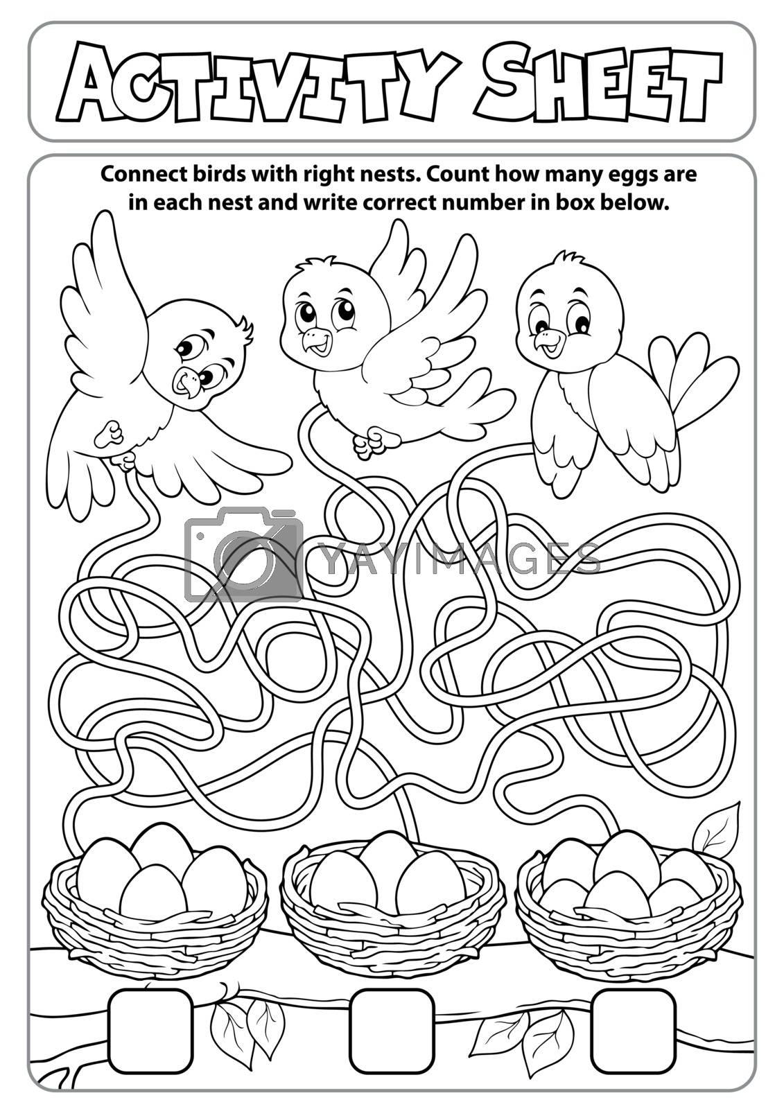 Activity sheet maze theme 1 - eps10 vector illustration.