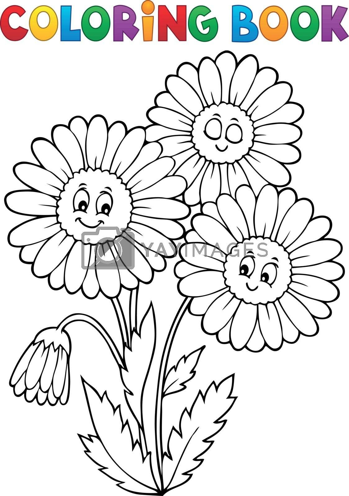 Coloring book daisy flower image 1 - eps10 vector illustration.