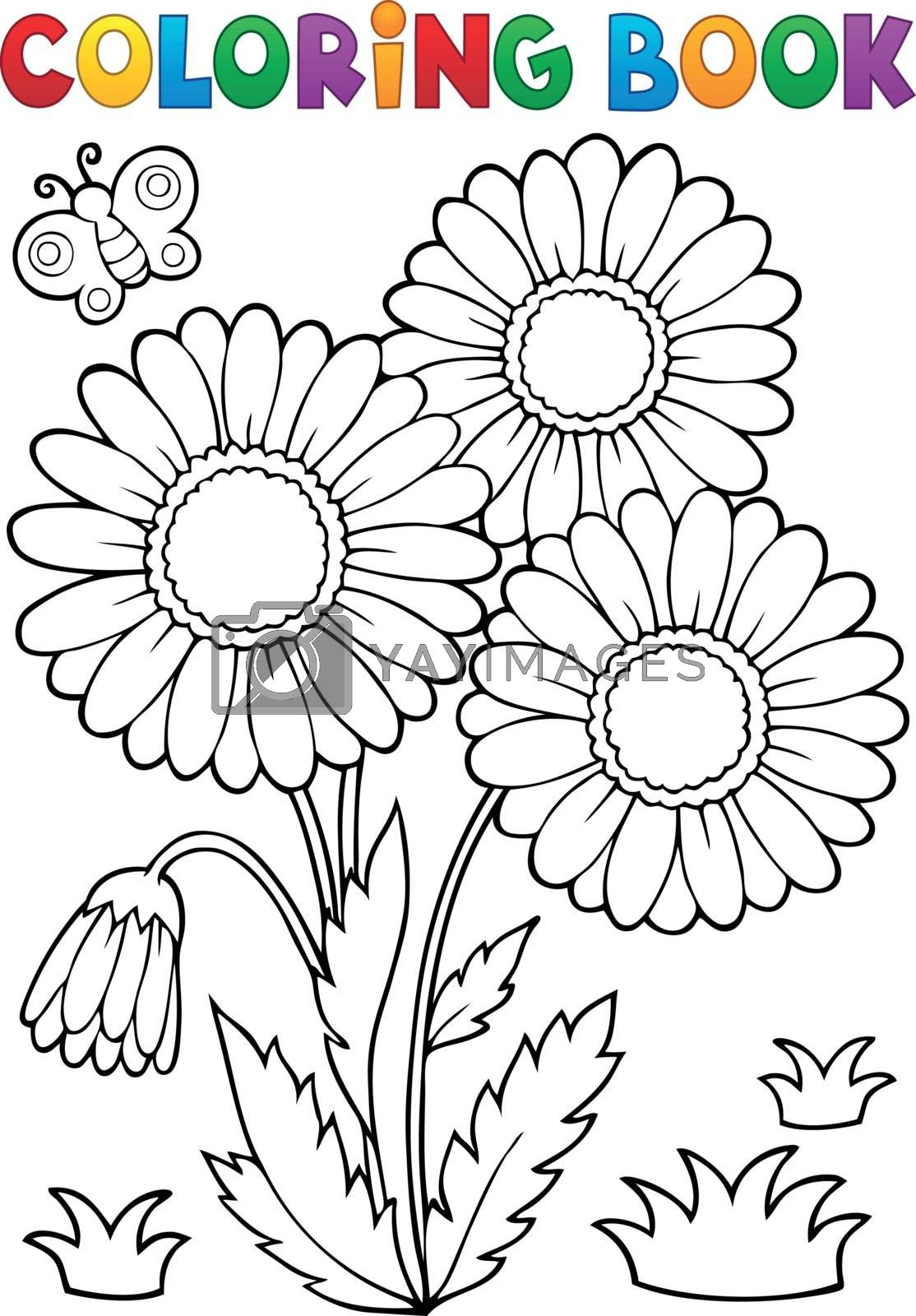 Coloring book daisy flower image 2 - eps10 vector illustration.