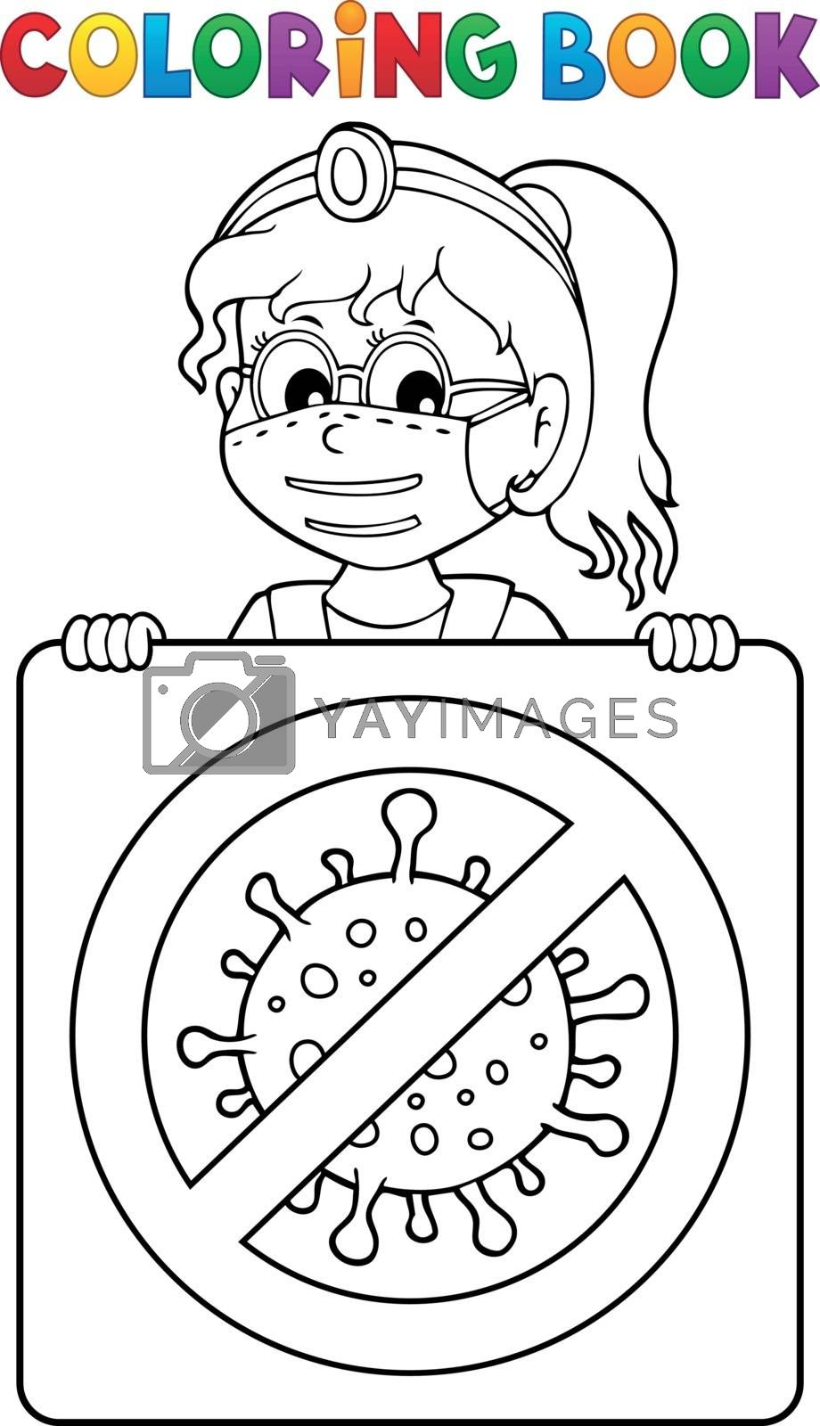 Coloring book doctor with sign theme 2 - eps10 vector illustration.