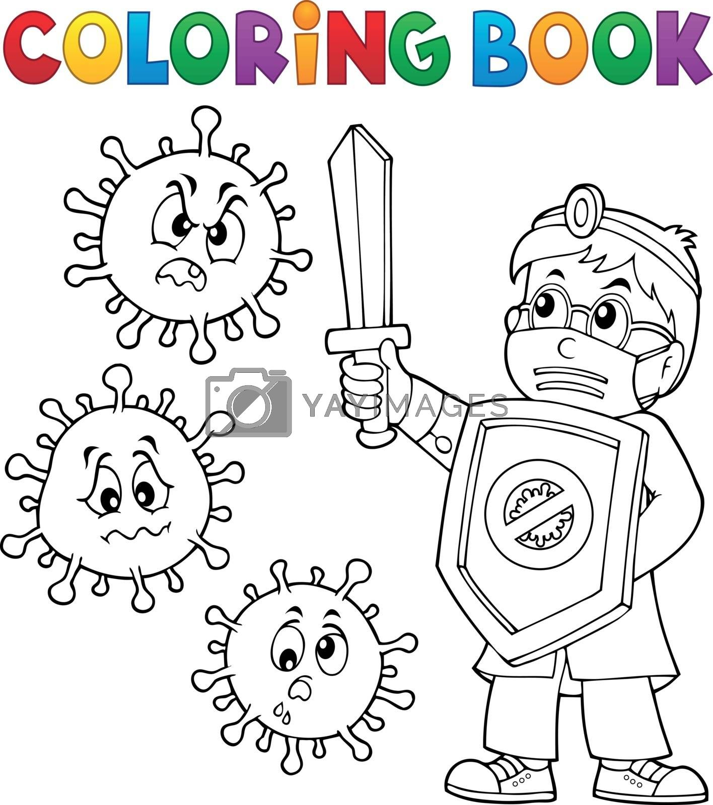 Coloring book doctor fighting virus 1 - eps10 vector illustration.