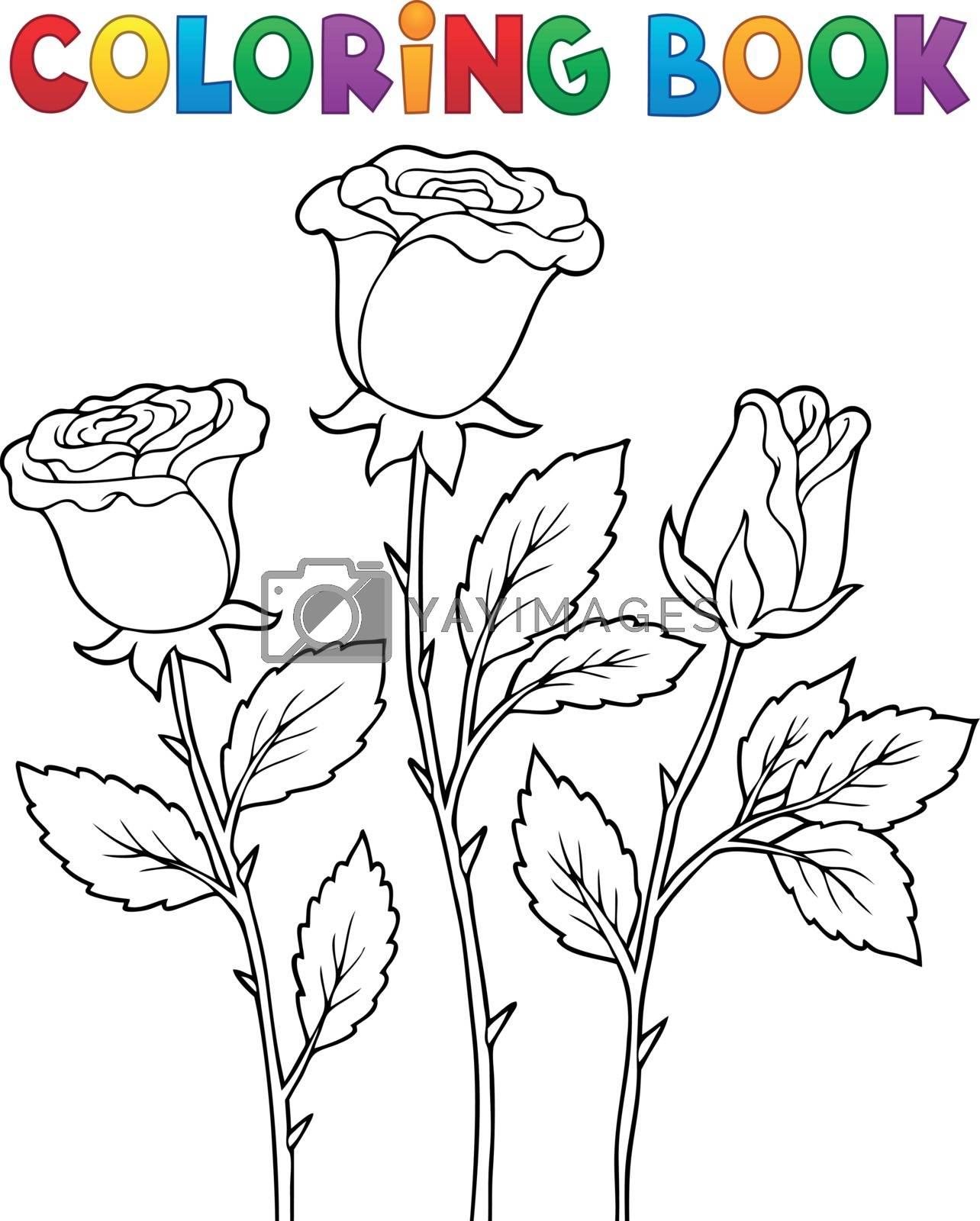 Coloring book rose flower image 1 - eps10 vector illustration.