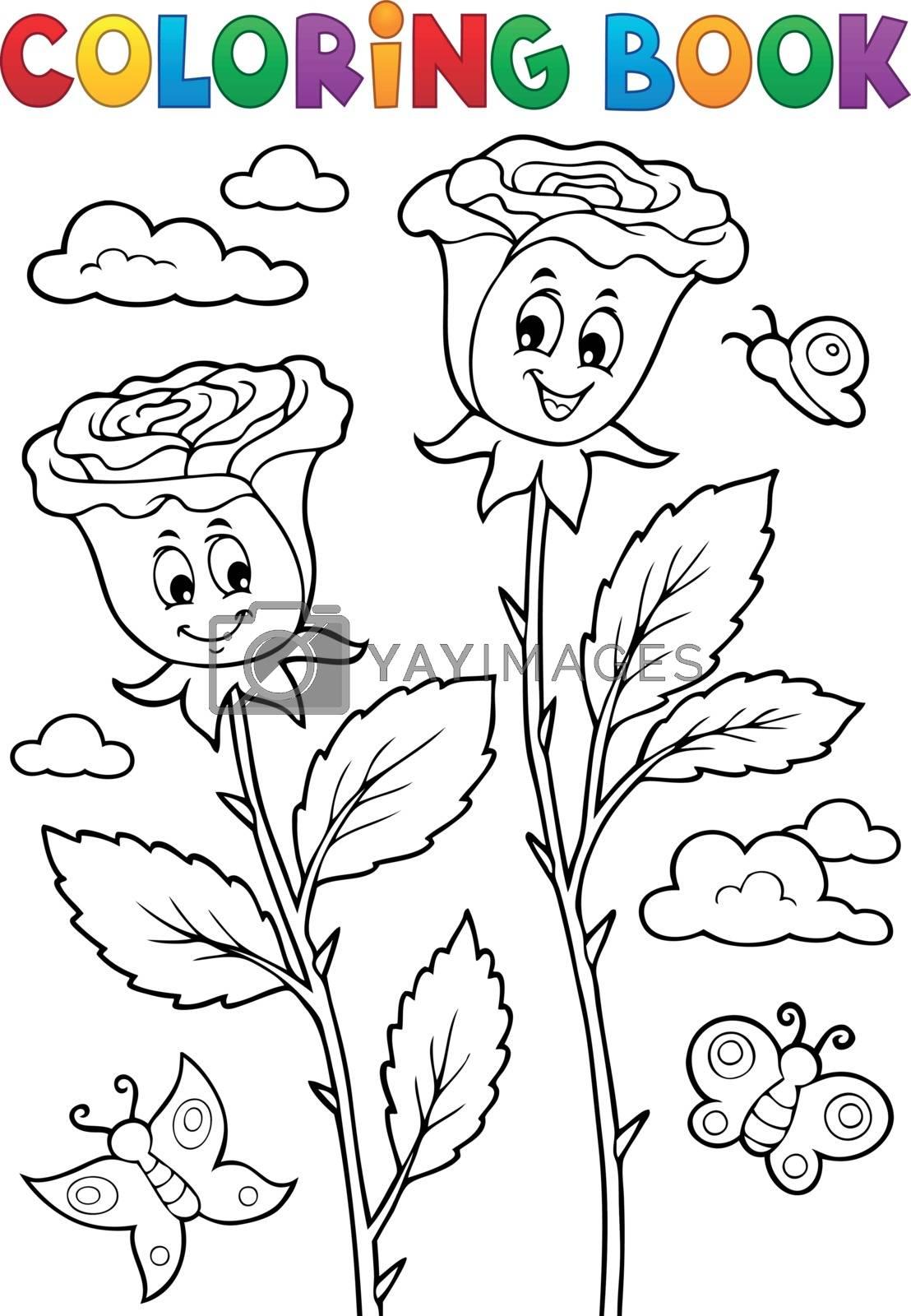 Coloring book rose flower image 2 - eps10 vector illustration.