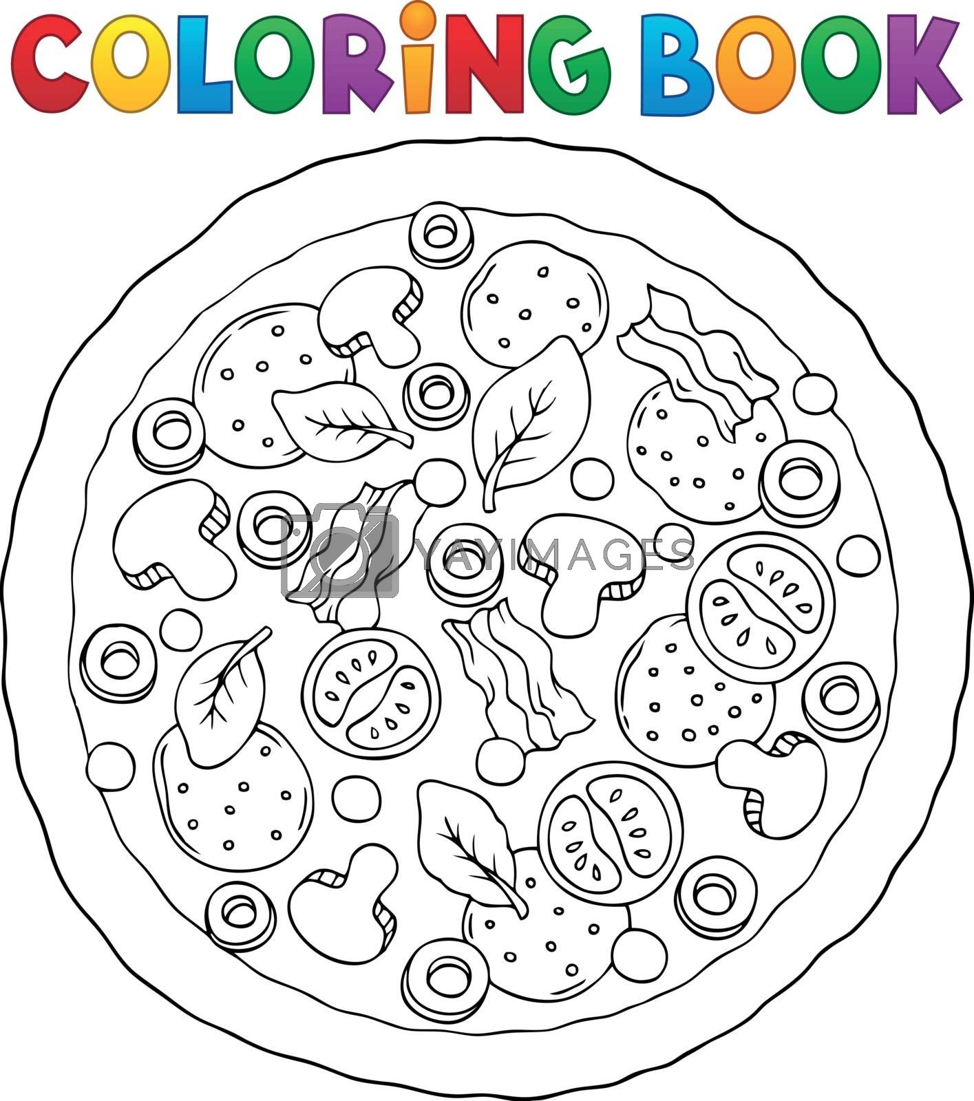 Coloring book whole pizza theme 1 - eps10 vector illustration.