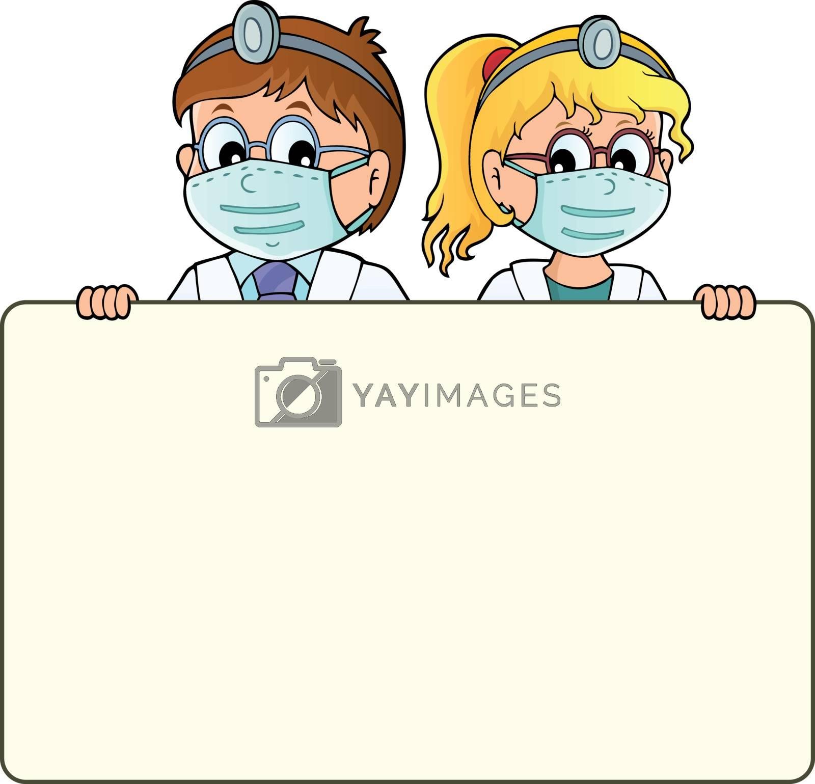 Doctors holding blank panel theme 1 - eps10 vector illustration.