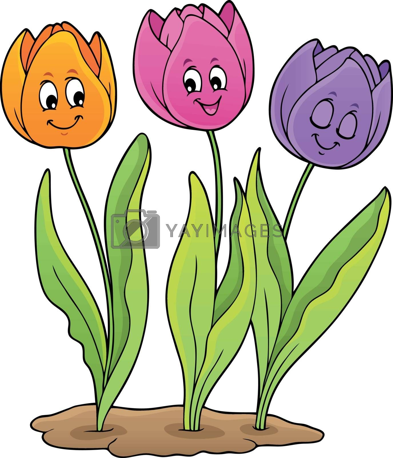 Image with tulip flower theme 5 - eps10 vector illustration.