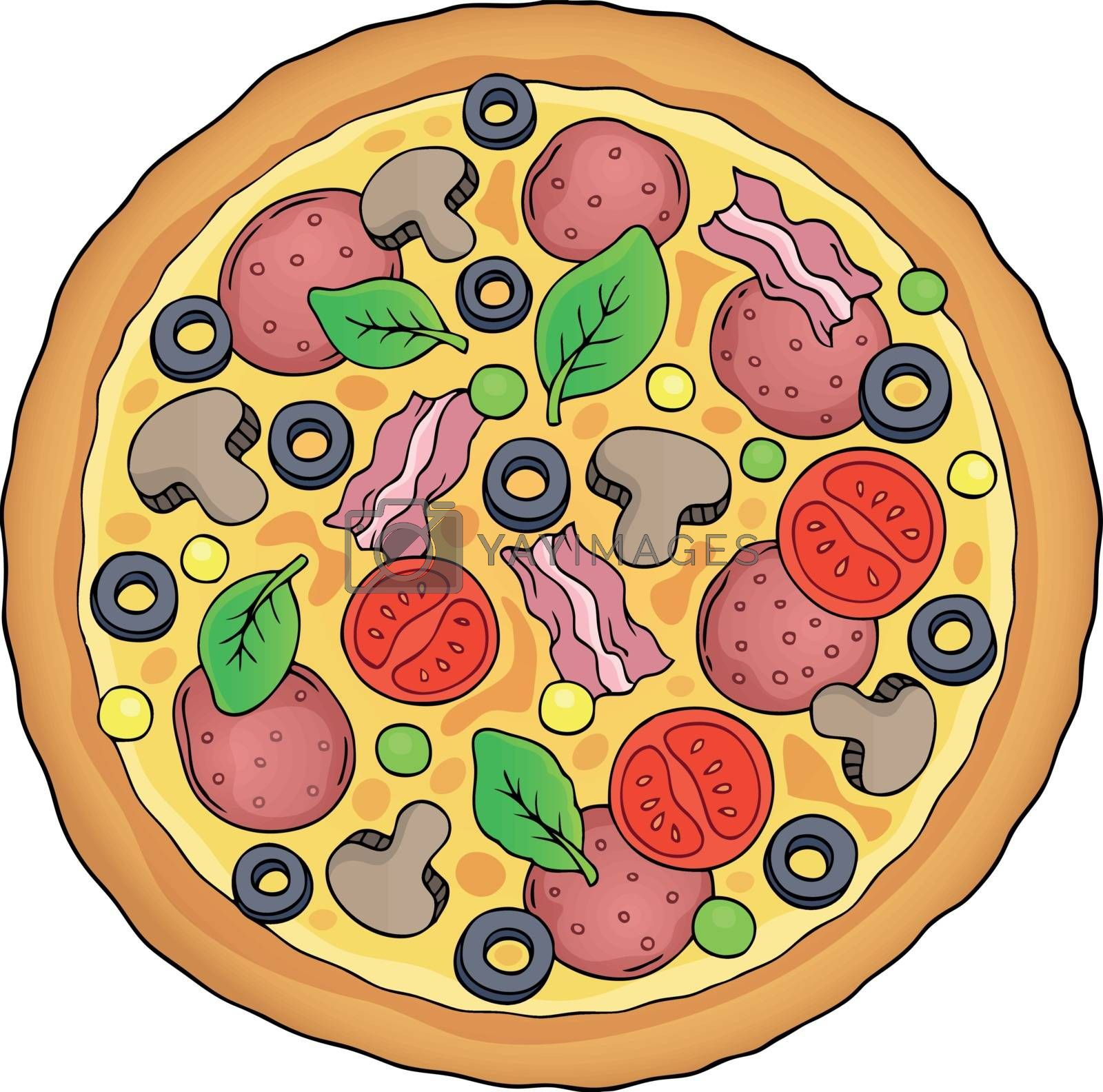 Whole pizza theme image 1 - eps10 vector illustration.