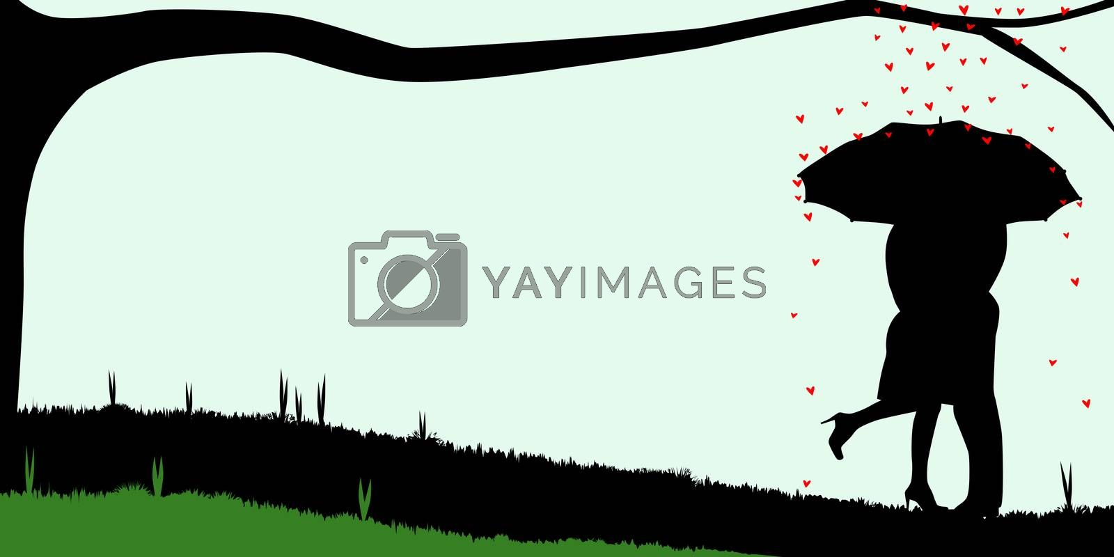 A courting couple, silhouette ,, kissing under an umbrella, during a downpour of red cupids hearts