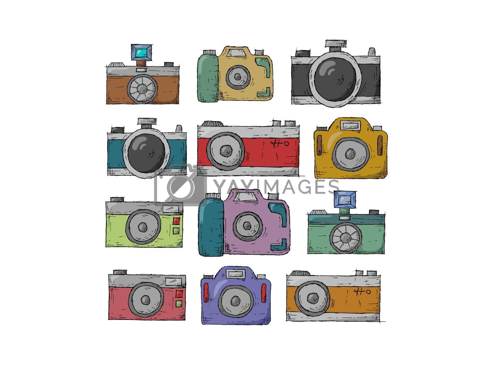 very nice colors retro camera - 3d rendering