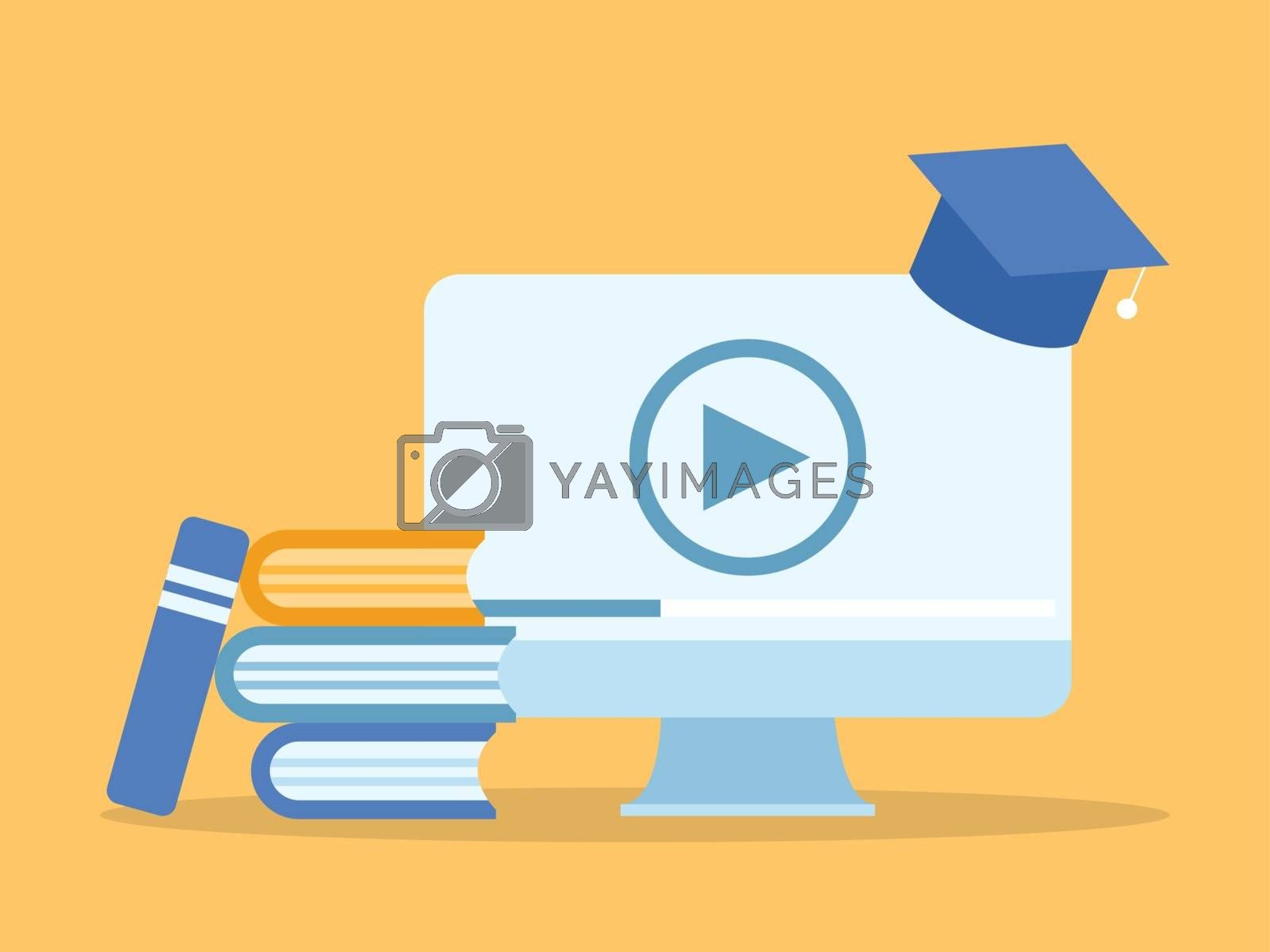 Learning online course in computer. Illustration about E-learning and Online course.