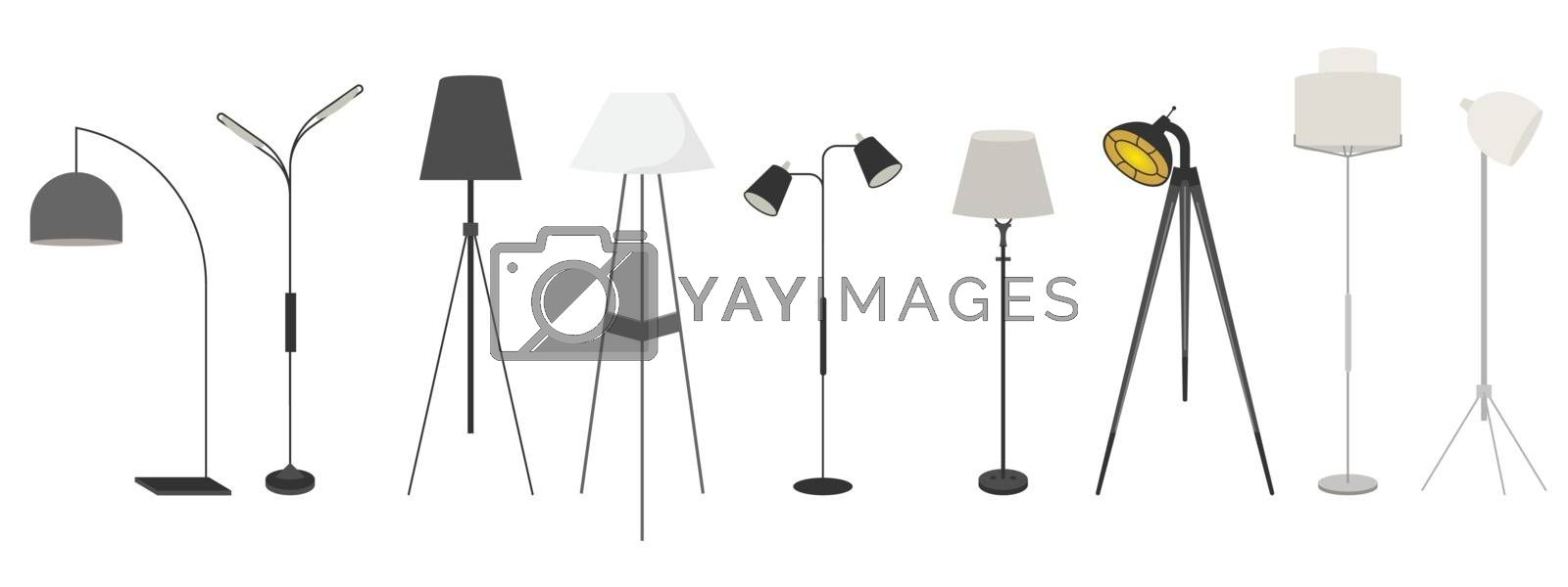 Lamps set. Vector clocks icons. Illustration for creating an interior for games and scenes. Mockups for design from different angles. Isolated on a white background. Vector illustration.