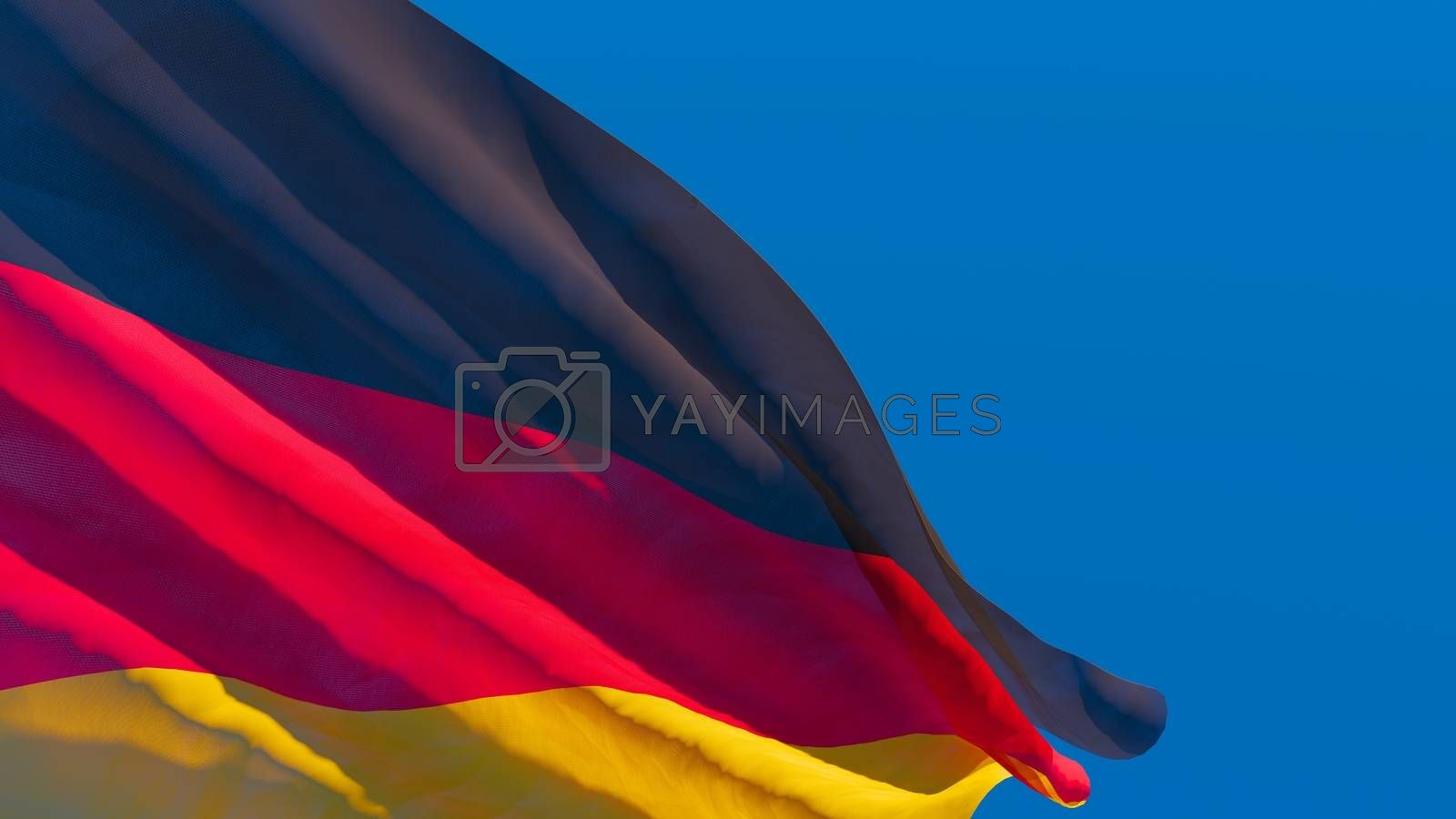 3D rendering of the German national flag against a blue sky.