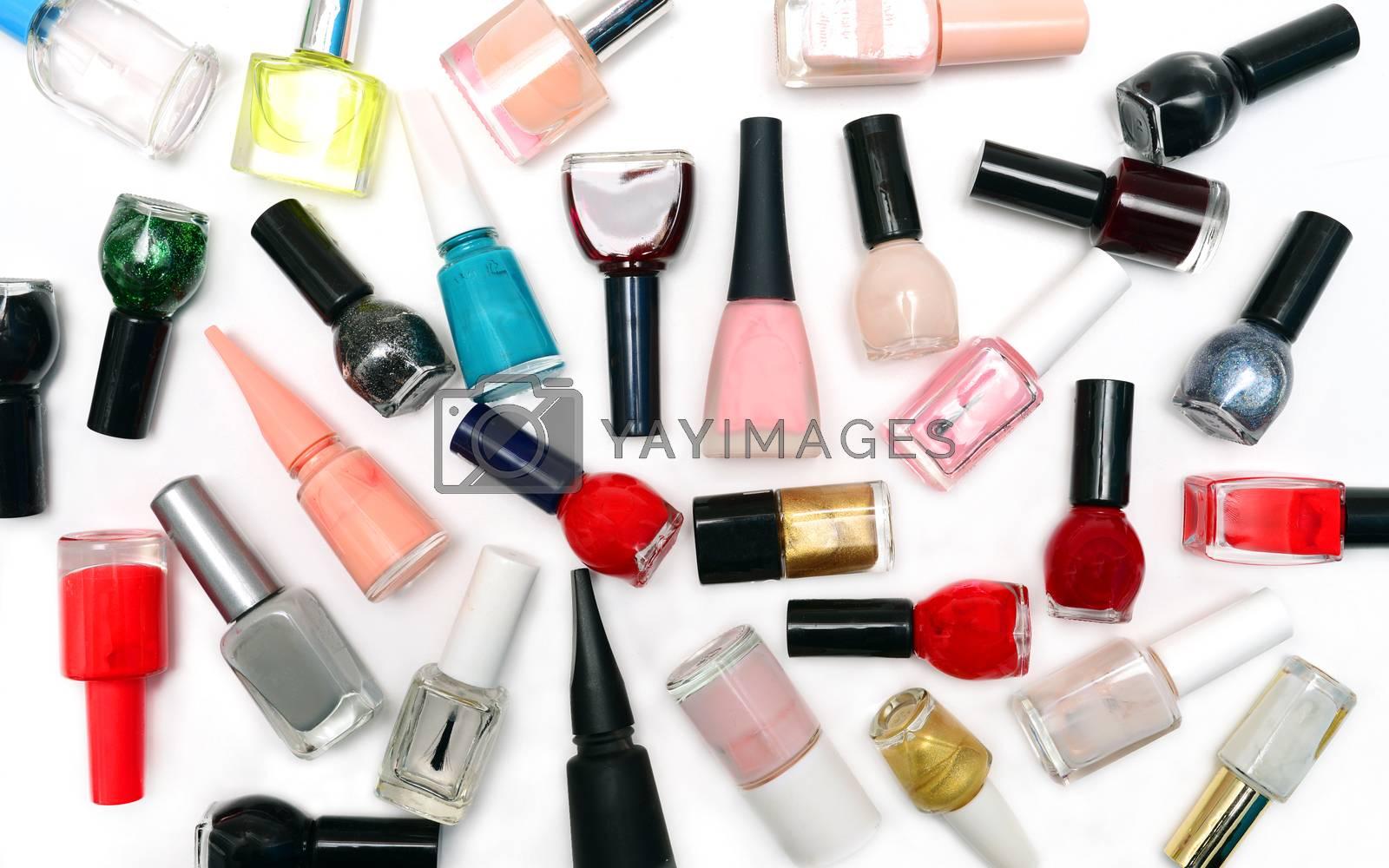 nail polish bottles pattern background over white