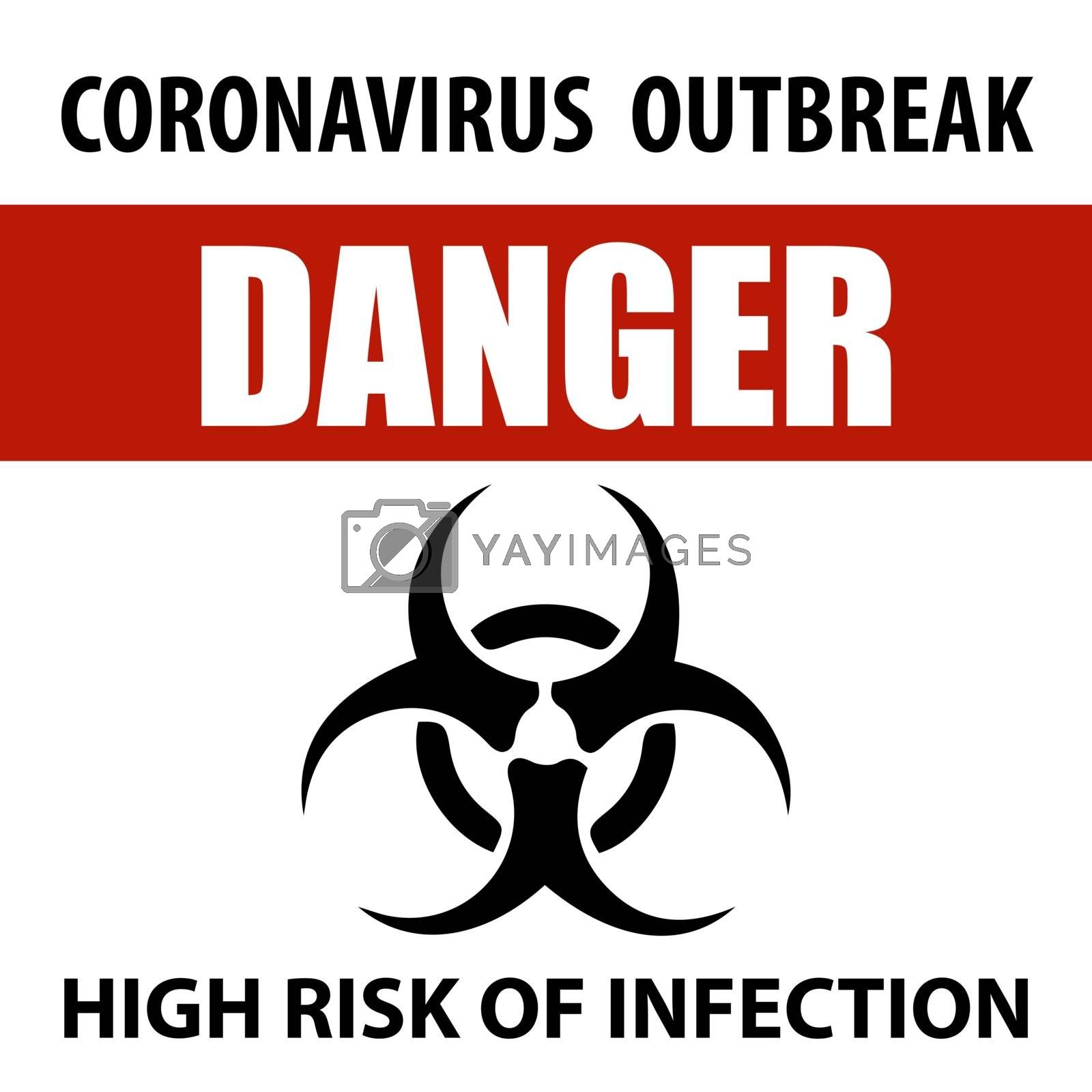 Coronavirus warning  sign. Information warning sign about measures in public places. Restriction and caution COVID-19. Vector used for web, print, banner, flyer